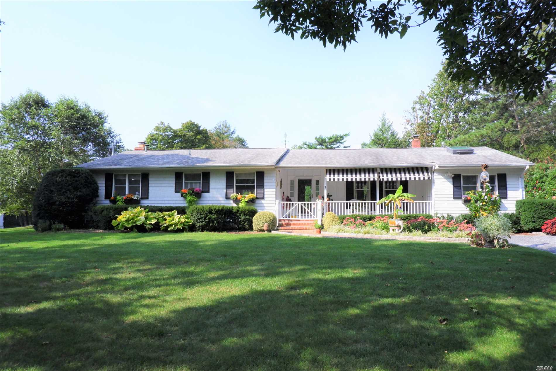 Picture Perfect L Shape Ranch In Bellport Village South! Located On .45 Acres W/ Ample Room For A Pool / No Variance Necessary. Fenced And Professionally Landscaped Backyard W/ Storage Shed And Potting Area. Gleaming Red Oak Floors Special Woodworking 2 Gas Fireplaces.Totally Renovated Kitchen And Mbr En Suite. Substantially Upgraded Heating Electric & Plumbing. Enjoy Watching The Joggers From Your Front Porch Or The Privacy Of A Wonderful Backyard W/ Brick Patio & Multiple Awnings For Shade.