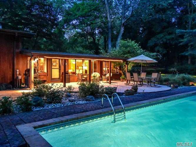 Entertainer's Paradise! Rare Opportunity To Own This Six Bedroom Mid Century Modern On A Cul-De-Sac W/ In- Ground Pool And Pool House W/ Full Bath On A Bucolic Setting Backing Up To North Shore Cc. New Kitchen W/ Stainless Steel Appliances, Living Room W/ Fireplace, Fdr, Den W/ Fireplace, Multiple Decks Including A Wrap Around Deck Off The Bedrooms Overlooking The Verdant Landscape. Attached Two Car Garage.