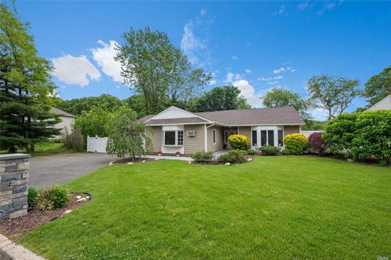Located In The Heart Of Smithtown, This Totally Updated 4Br, 3Ba Sprawling Ranch Boasts A Bright Open Floor Plan, Soaring Vaulted Ceilings, Hw Fls & Updated Kitchen & Baths. New Roof(2014) Vinyl Cedar Shake Siding, Updated Windows (2008), Cac (2014) & New Navien On-Demand Gas Heating System(2017). This Sun-Drenched Home Has A Beautiful, Private Yard With A Rare Upstate Feel & Is Perfect For Entertaining. Updated Paver Walkway, Possible Mother-Daughter. Do Not Miss!