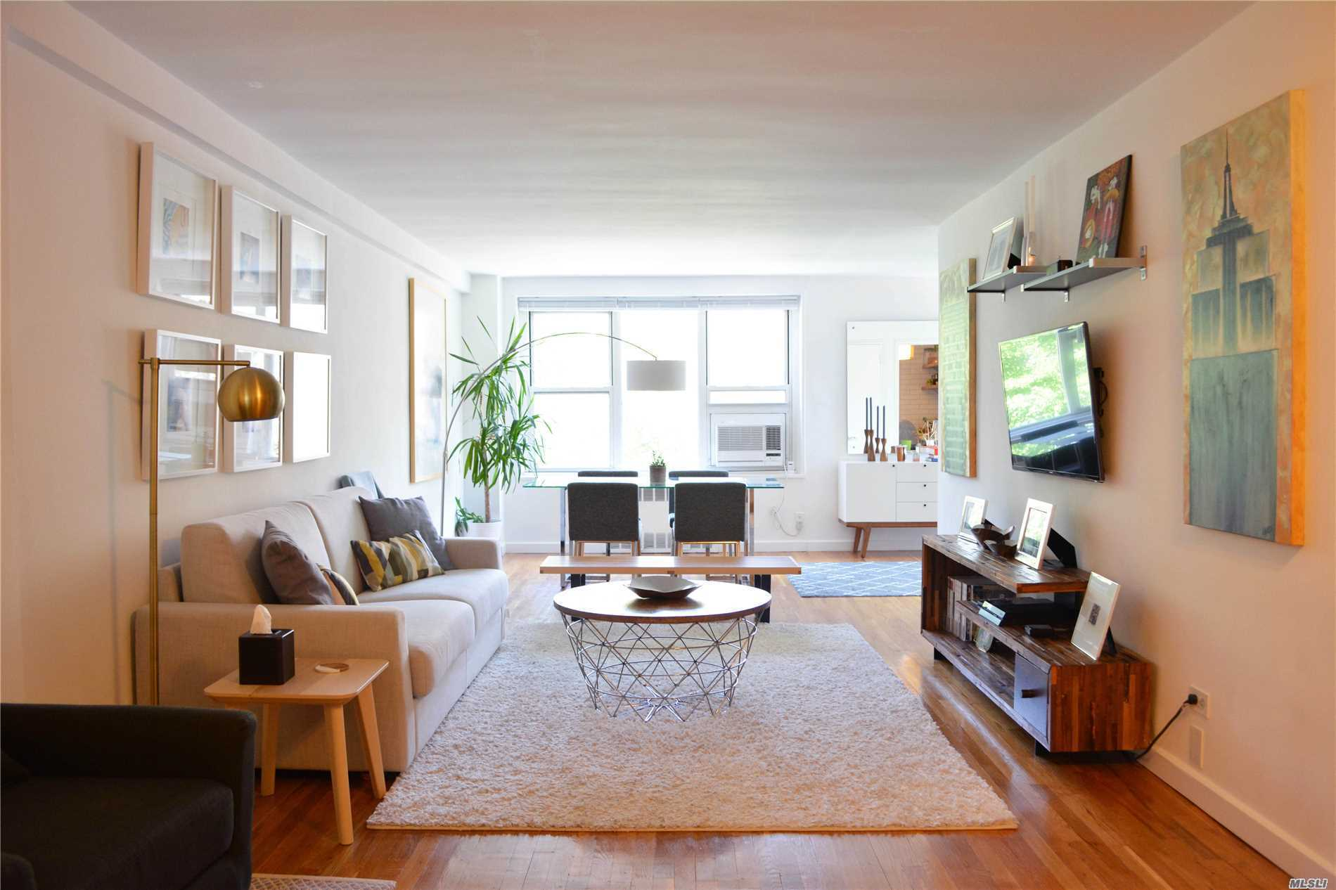 Immaculately Maintained And Renovated 1 Br -Jr.4 In The Heart Of Bayside, Sd # 25. New Ss Appliances, New Counter Tops/Back Splash In Kitchen, Very Modern Feel, Six Closets, Hw Floors Throughout, Artfully Designed With Mango Wood Shelves, Many Windows Create A Light Filled Home, Close To All Shopping And Transportation To Nyc. Salary 80K, Flip Tax $45.00 Per Share, 237 Shares=$10, 665 Paid By Seller, Outdoor Parking $60 Per Month, W/D Lobby Level, Truly Turn Key! A Real Gem!