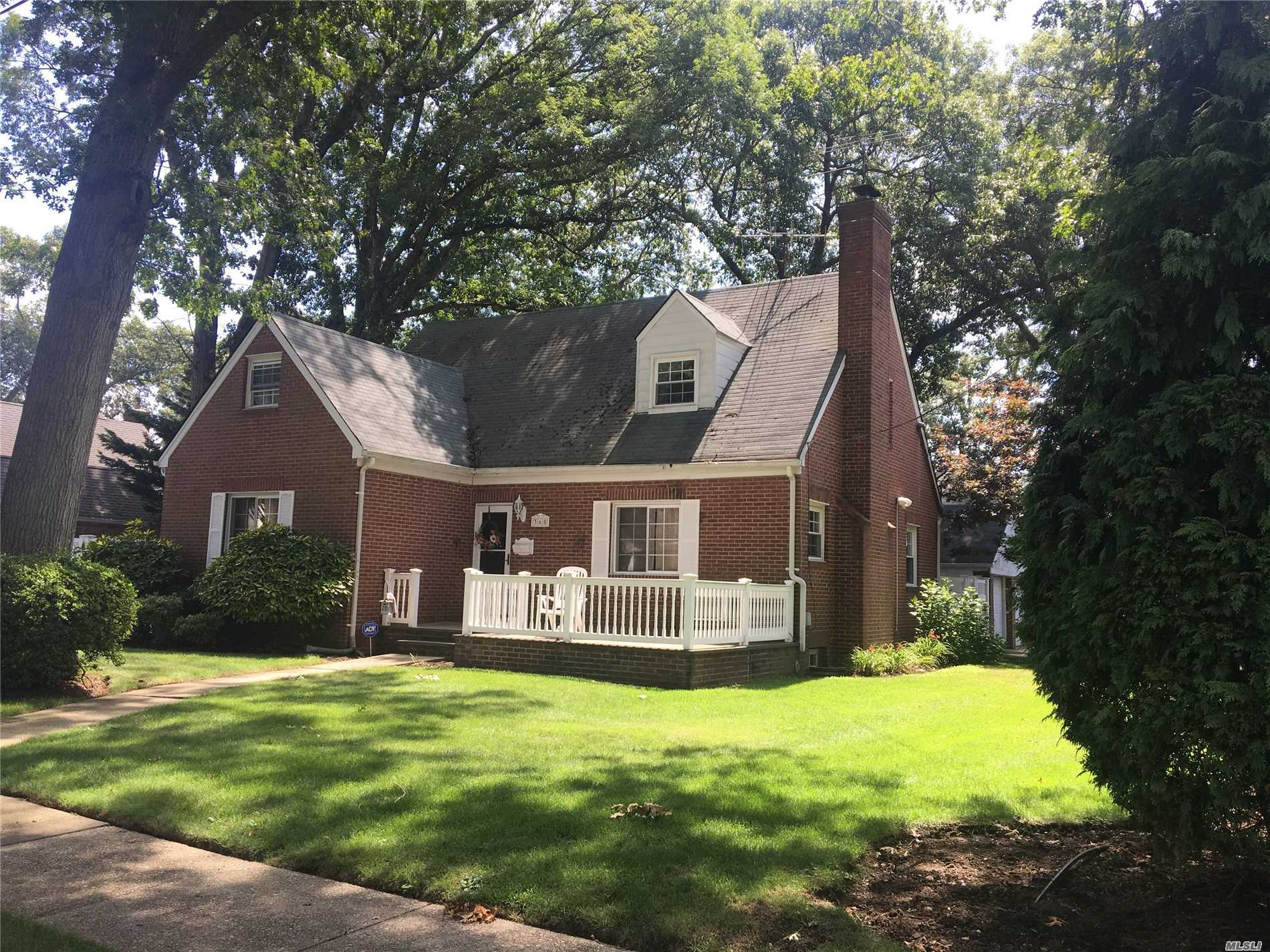 Beautiful Brick Cape-Cod In West Hempstead's Tree-Lined Presidential Section, Charming From Porch,  Move In Condition Three Bedrooms Three Full Bathrooms, Master Suite Upstairs, Full Finished Basement, With Possible Nanny Or Guest Bedroom, & Ose Cac On 2nd Floor, 2 Car Detached Garage, Lovely Fenced Private Yard.