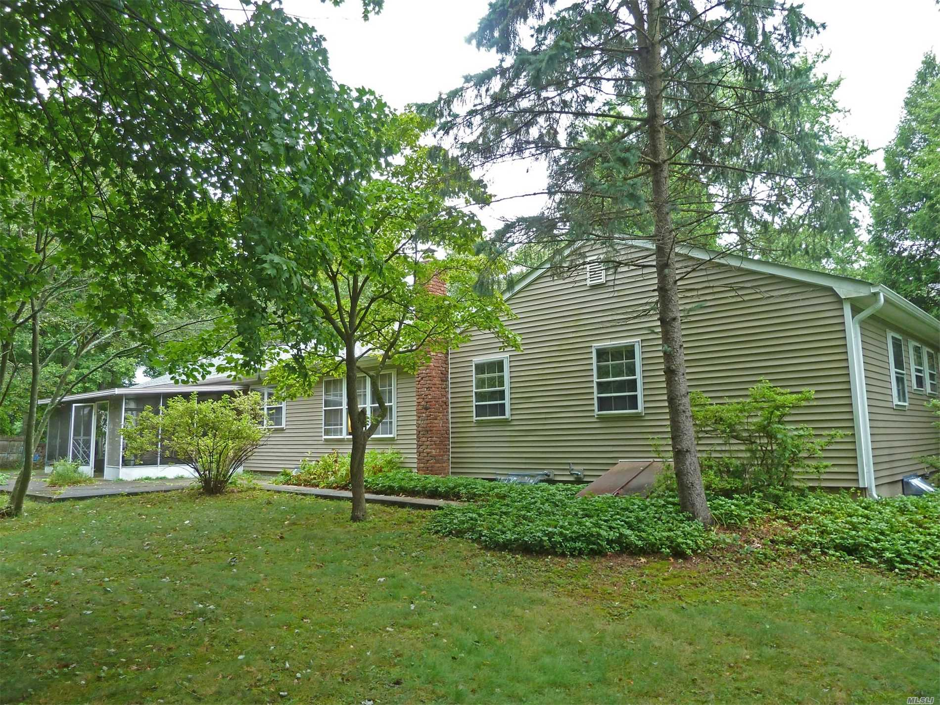 Good Sized Ranch With Nice Floorplan Set On A Quiet Street In The Shoreham-Wading River School District. This Home Has 4 Bedrooms, A Formal Dining Room And Both A Living Room And A Den W/Fireplace. Real Oak Floors In All Bedrooms And In The Hall. Oak Probably Under The Carpet In The Living And Dining Rooms. First Floor Laundry. It Has An Enclosed Patio Out Back And Sits On Just Over One Half Of A Flat Acre. Full Basement With Inside & Outside Entrances. Newer Roof. Come See It Soon!!