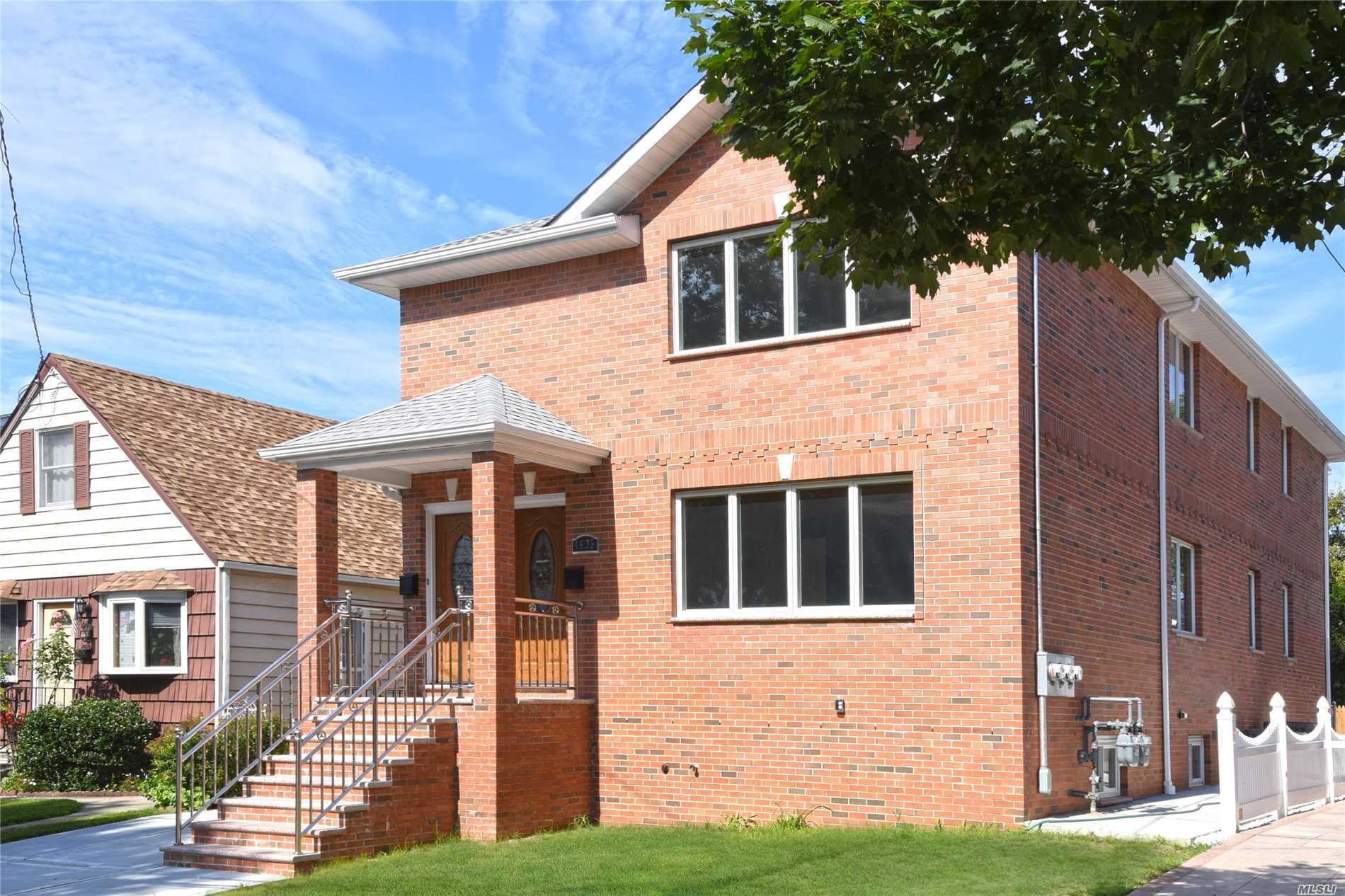 2018 Brand New 2 Family House, Lot 40X100 4000Sqft, Hardwood Floor, With Great Layout, Large Basement, Large Back Yard, #26 Best School Distract , Walking Distance To Q27,31, & Super Market, Bell Blvd. Must See!!! ___ Bsmt/Subfl:Full Finish Basement 1Bathroom. 1st Floor:3 Bedroom 2 Bathroom Living Room, Dining Room. 2nd Floor:3 Bedroom 2 Bathroom Living Room, Dining Room.