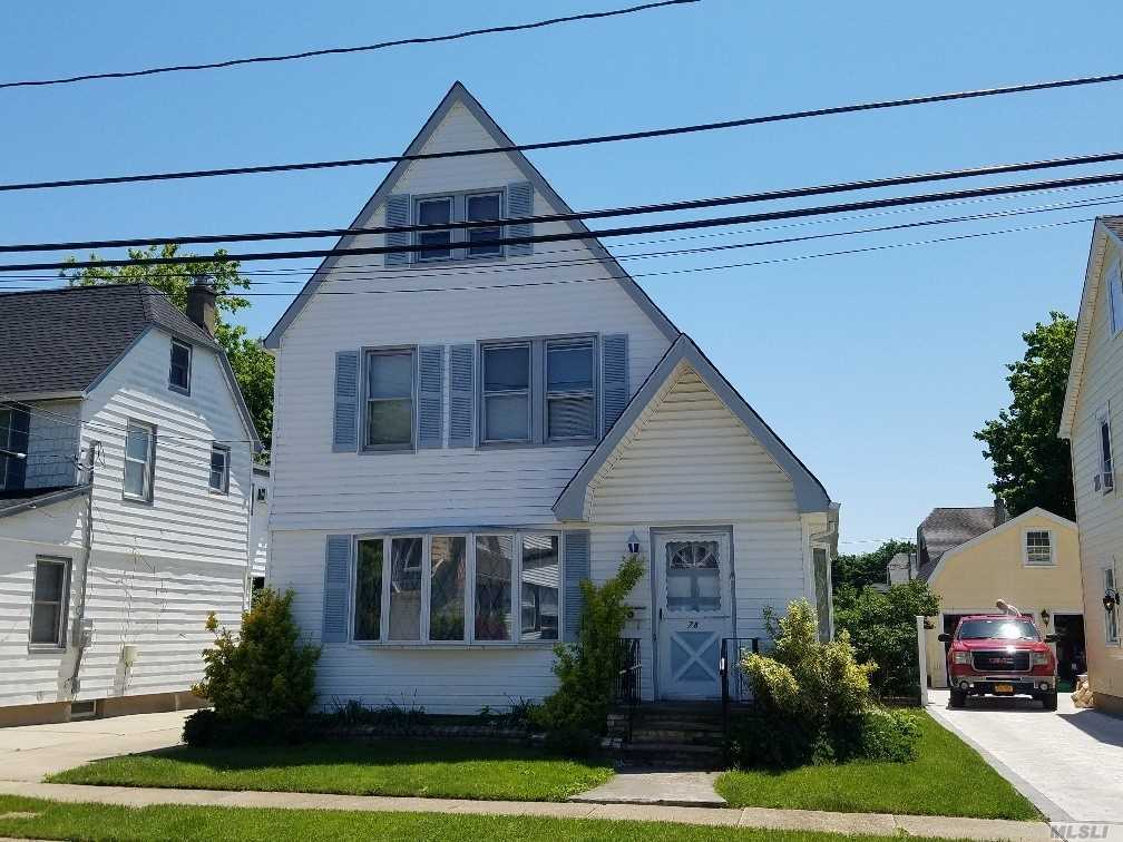 Spacious Colonial. Entry Foyer To Large Living Room, Dining Room & Kitchen. Access To Backyard, 3 Bedrooms, Good Closet Space & Storage. One Bathroom.