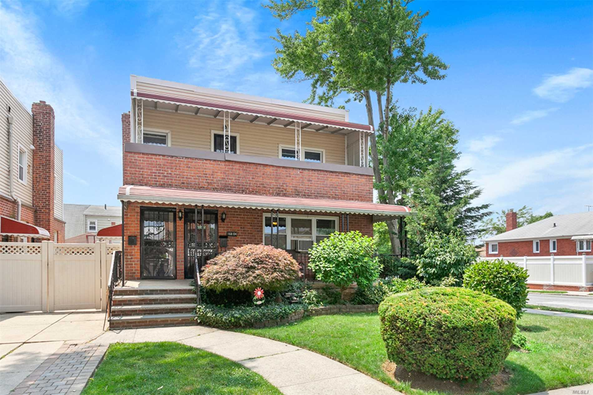 Highly Sought After Corner Block, 2 Residential Home In The Heart Of Fresh Meadows. This Is An Amazing Opportunity For The Savvy Investor. First Unit Features Hardwood Floors, Has Ample Space For A Living And Dining Room, An Open Kitchen And 2 Bedrooms. The Finished Basement Compliments This Home Beautifully. There Is Ample Space For Recreation, Laundry And Storage. This Great Home Boasts 3 Entrances Including A Separate Rear Entrance To The Basement.  The Second Floor Features A 2 Bedroom