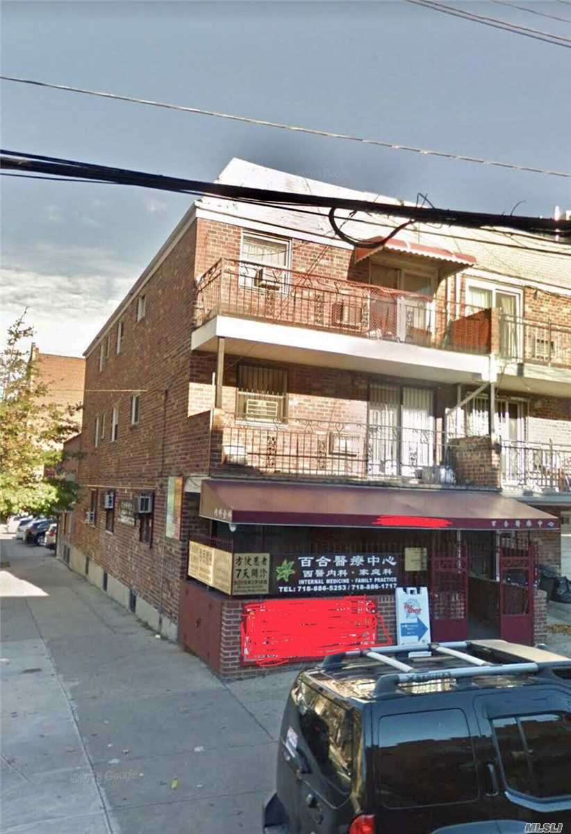 Location, Location, Location! Rare Opportunity For The Investors And Professionals! This Corner Mixed Use Building Is Right In The Center Of Downtown Flushing. 2 Commercial Unit (Each Has 1692 Sq.Ft) + 3 Residential Families. Lot 21Ftx90 Ft, Building 21Ftx 81Ft. Each Unit Has Own Boiler, Electrical Meter, And Water Meter. Easy Showing.