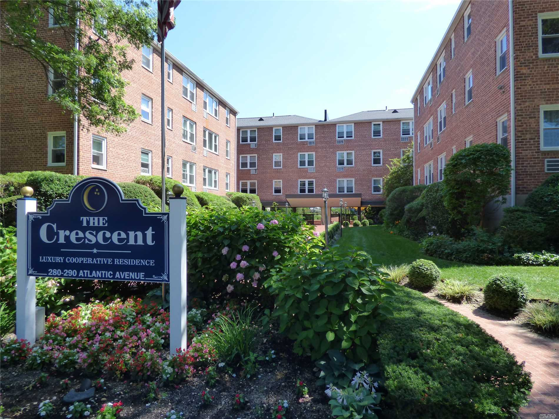 Spacious & Bright 4 Rm(1 Br) Corner Co-Op Unit On Top Floor In Luxury Concierge Building. Great Space & Plenty Of Closets. Large Living Room/Dining Room, Eik Kitchen, Spacious Br; Office Area; Private Fitness Center, Community Room; Laundry On Each Floor; Private Storage Unit; Wait List For $35 Outdoor Parking, $65 Indoor Garage. Walk To Worship. Walk To Centre Ave Lirr Station 39 Min To Nyc!