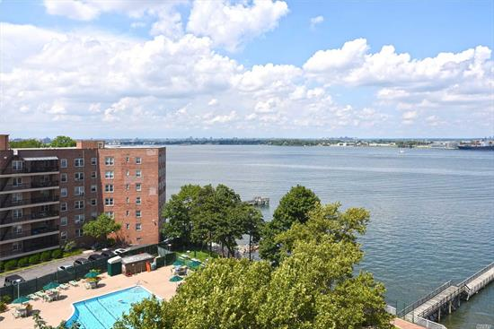 Cryder House 2 Bedroom 2 Bath D Line Offering Prime Water Views In Beechhurst. This Renowned Co-Op Unit Offers A Welcoming Circular Entrance To Loft Style- Over 2, 000 Sq Ft, New Eat In Kitchen, New Baths, Master Ensuite With Private Bath/Shower And Newly Finished Parquet Floors. Maintenance Includes Heat, Central Air, Taxes, Door Man, Gym, & Outdoor Pool. Parking And Garage Readily Available. Hotel Style Living At It's Best! Express Bus To Nyc & Local Bus To Flushing.