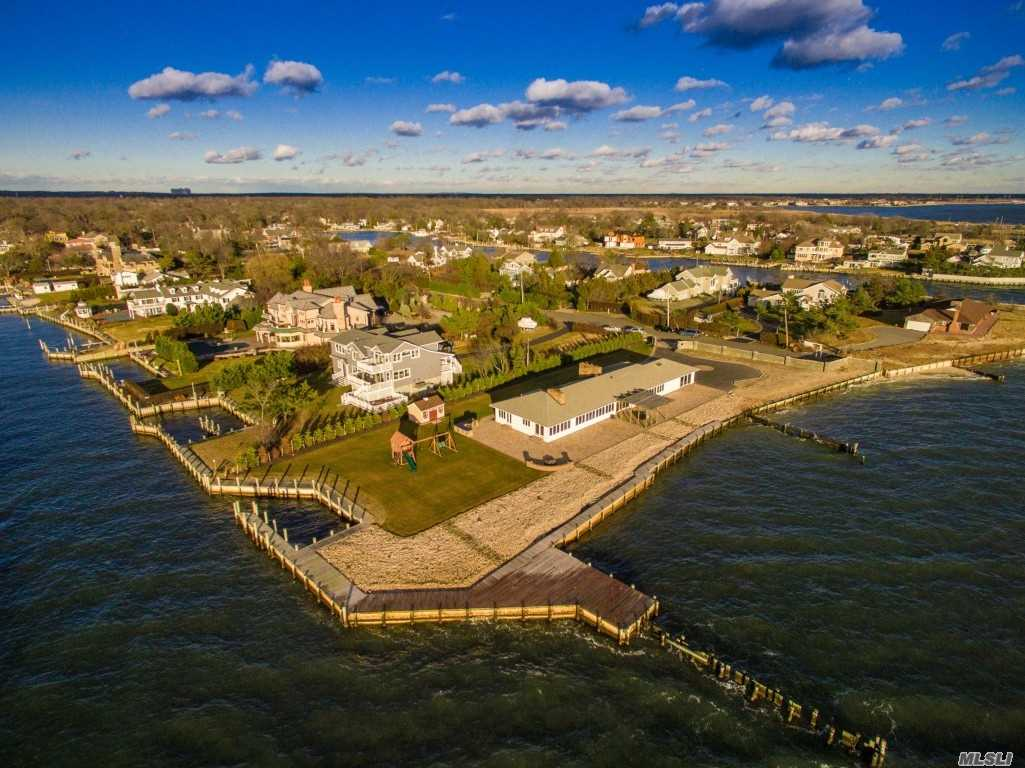 Bayberry Point Bayfront & Canal, Cut-In Boat Slip, Very Private, 1.1 Acres, 330' On Bay & 106' On Canal. Sunrise & Sunset Views, Fire Island & Bridge Views, 4031Sf Ranch In Perfect Condition, Privacy Wall & Gate.