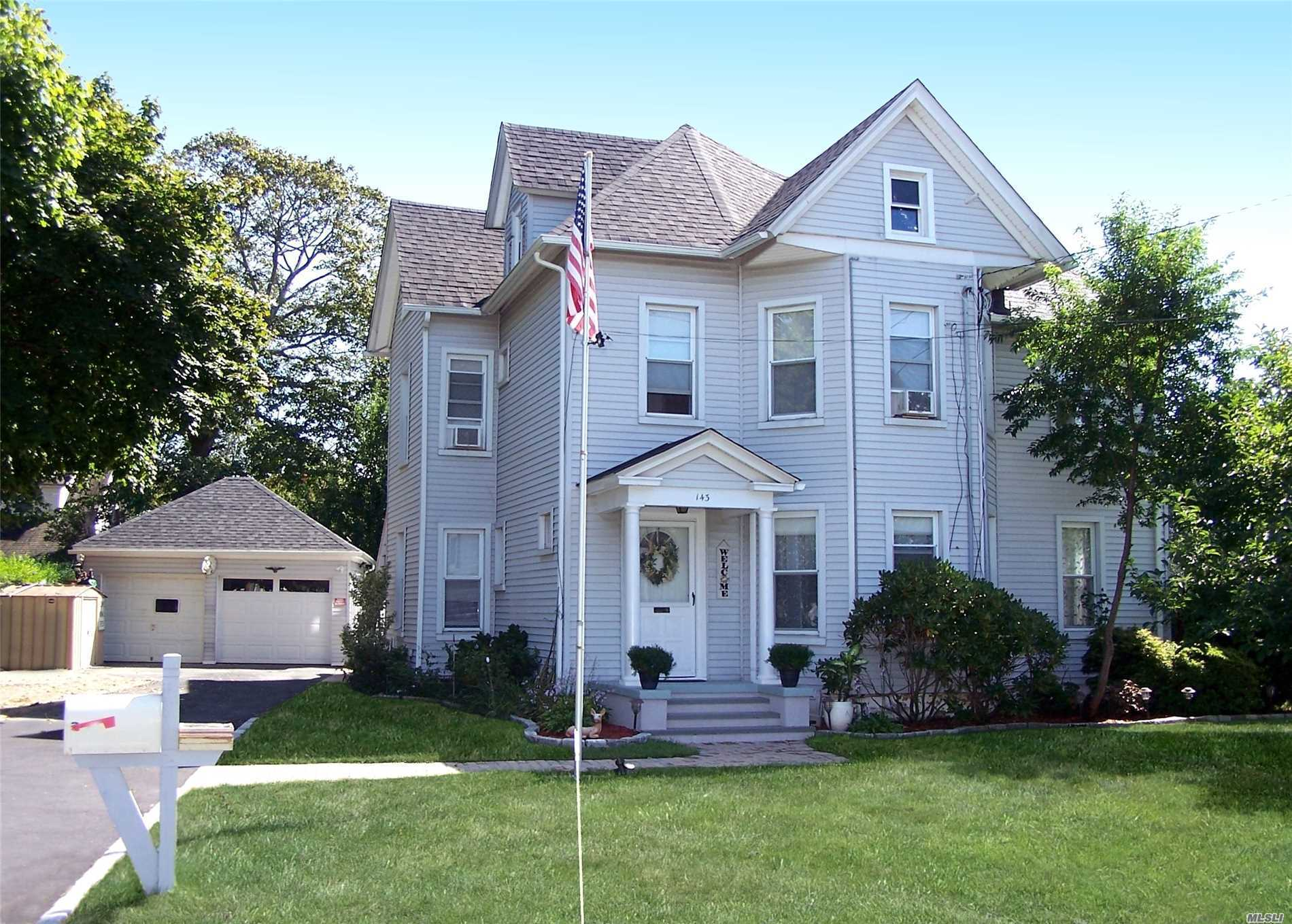 Experience An Exquisite Property In Heart Of Patchogue Vill. Grandfathered In As 2 Family W/Owner Occ. This Meticulously Kept 2.5 Story Home Exudes Charm Of Yesteryear Yet Has All Modern Day Conveniences. Feat Inc. A New Eik W/Stainless Appl, Formal Dr Currently Set Up As Conservatory & 3 Bdrms On Main Flr. 2nd Floor Is A 3 Bdrm Apt & 3rd Flr Set Up As Guest Quarters.With The Solar Heated Saltwater Pool, Deck & Landscaping Enjoy An Endless Vacation.The Oversized Garage Is A Craftman's Dream!!!