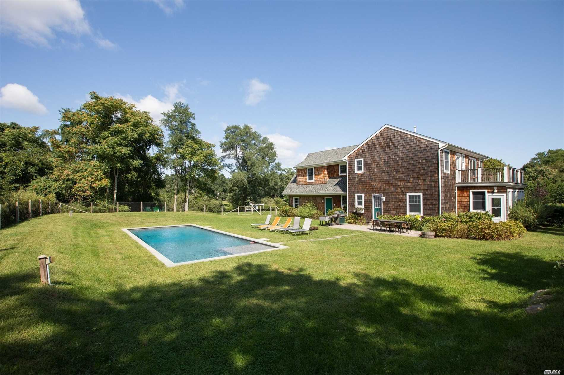 This Wonderful Farmhouse Is Nestled Back Away From Neighbors, Overlooking A Preserved Meadow. It Gives The Feel Of An Authentic Farmhouse Yet It Affords The Comfort And Luxury Of A New Home. Some Highlights Are The Spacious Master Br Suite, The Screened Porch & The Poolside Patio & Pool For Entertaining & Fun. Near To Wades Beach, Fresh Pond And The Convenience Of The Center, This Property Is Perfect For A Summer Retreat Or A Year Round Home.