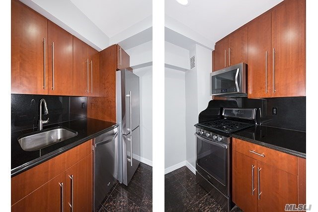 Manhattan Style Hi-Rise. Ultra Elegant Interior Upgrades. Douglaston Village. Sleek Cherry Cabinets W/Granite Countertops, Backsplash, Ss Appl, Granite Kit Flr. Washer/Dryer! Granite Bath, Floating Vanity, Rain Showerhd/Frameless Shwr Drs. 2 Faux Woodgrain Window Tmts. Crown Molding, 2-Tone Paint.