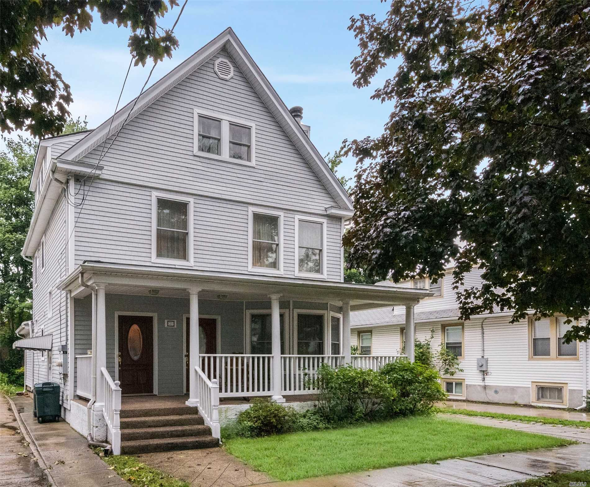 Major Price Improvement! Legal 2 Fam In Fpv Filled W/Charming Details And Low Taxes! Open Frt. Porch Leads To 2 Sep Entrances. 1st Fl: Large Lr, Fdr (Or 2nd Br) Both W/Hw Floors And Bay Windows, Eik, Br, 1.5 Ba, 2nd Fl: Large Lr W/Fplc, Fdr, Hw Floors, Eik, Full Ba, ., 3rd Fl: 3 Bdrms, Full Ba. , Full Basement W/Laundry Facilities And Storage., Separate Gas/Elec., Siding 2010, Pella Windows, Cac, Close To Lirr, Shopping And Restaurants.