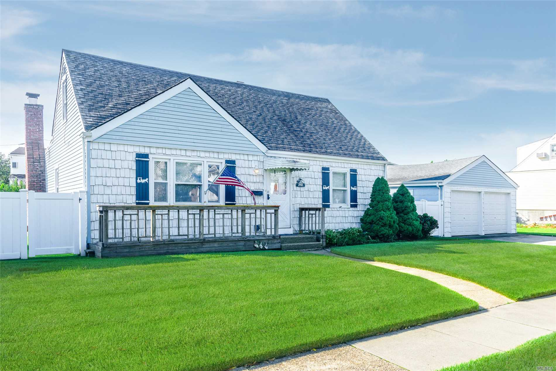 Amazing Cape On Oversized Property! Features: Living Rm, Eat In Kitchen, Den W/Wood Burning Fireplace, Full Bath, Master Bedroom, Laundry Rm/Office, 2 Large Bedrooms, Eaves Storage, Large Rear Deck For Entertaining, Spacious Backyard, 2 Car Garage W/ Private Driveway. Come In And Make It Yours!