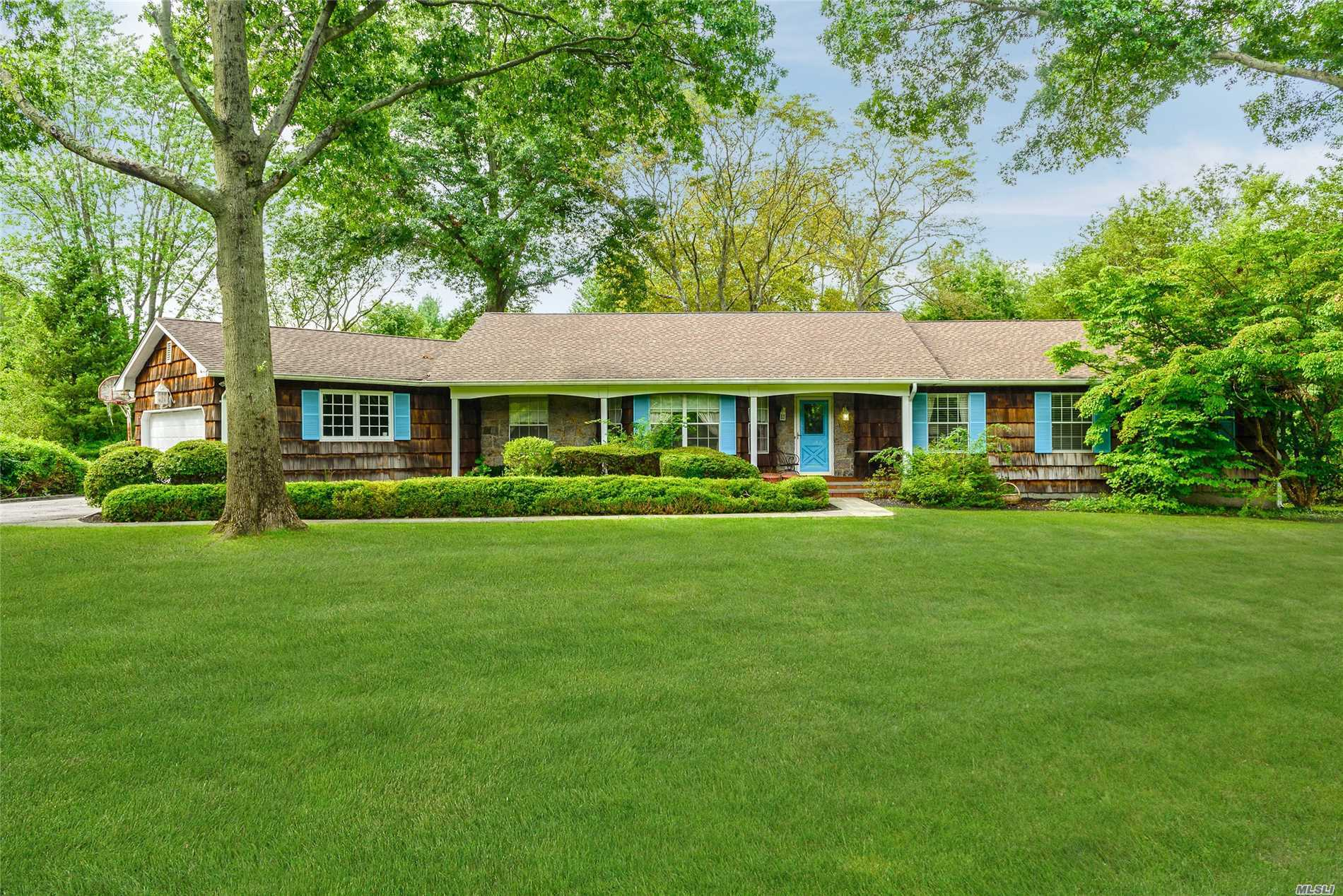 Looking to get into Cold Spring Harbor for under $ 1m? Here's your opportunity....This light filled spacious ranch offers an open floor plan. large master bedroom w/large walk in closet. 3 additional bedrooms, 2.5 bths. Great room w/fireplace , Trex deck off kitchen. Mudroom/laundry on main. Finished basement. 2 flat, private & useable acres. Close to LIRR & both Huntington & Cold Spring Harbor Vill. Cold Spring Harbor Schools.Eagle Dock Beach & Mooring (dues). Eligible for 10% tax reduction.