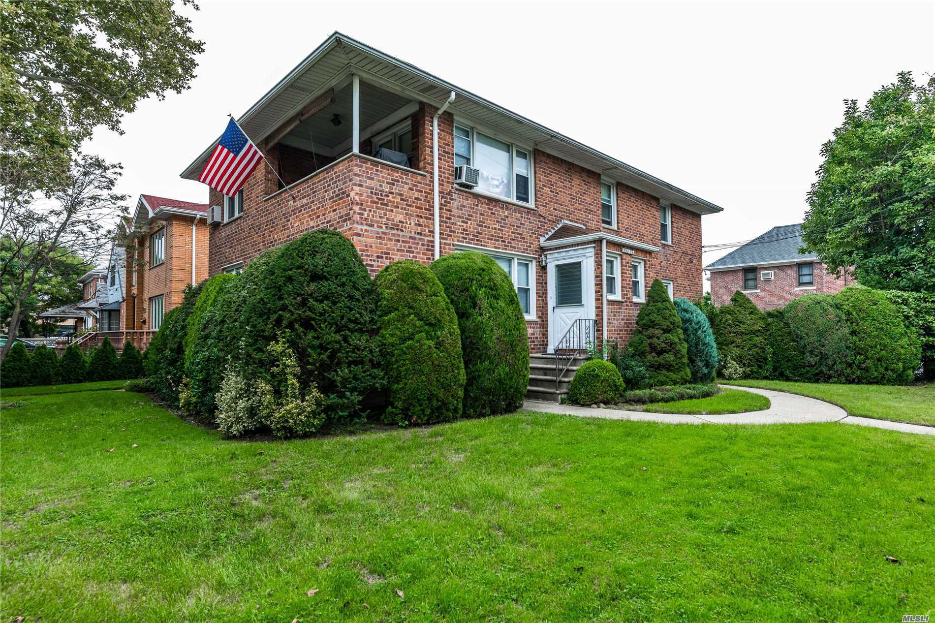 Solid Investment! Detached Brick 2 Family In Prime Whitestone Near The Flushing Border. Over 5600 Sqft Of Land. Each Apartment Consists Of Lr, Fdr, Eik, 3 Bedrooms And 2 Full Baths. 1, 274 Sqft Of Living Space Per Unit, Plus A Fully Finished Basement. Gas Heat. Cedar Closet. Detached 2 Car Garage. Near Schools, Shops And Transportation. Super Short Distance To The Bus Stop. A True Income Producer!
