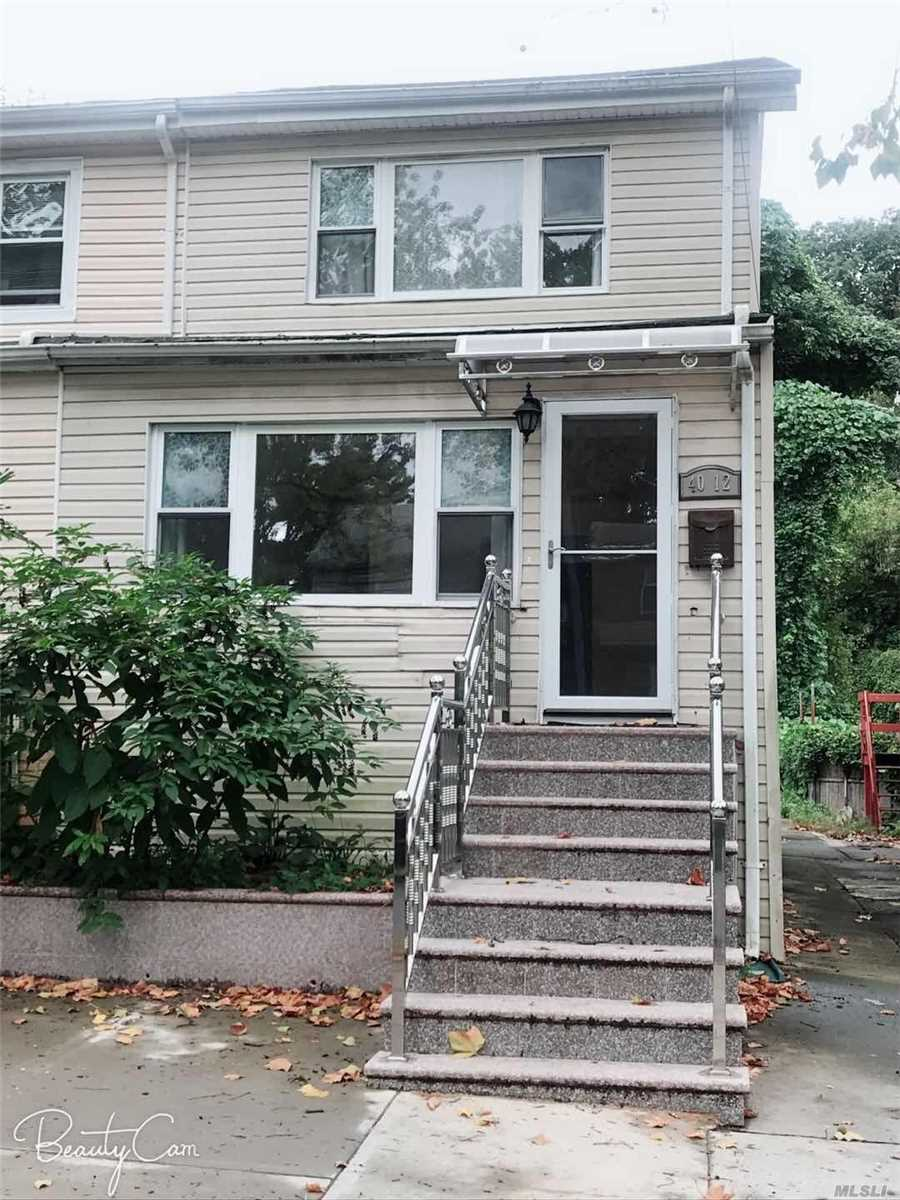 Newly Renovated Beautiful, Semi-Detached House For Rent. Full Finished Basement.Private Back-Yard, Parking Space Avaivable. 1st Floor: Large Living Room. Eat In Kitchen, Full Bath Room. 2nd Floor: 3 Bedrooms And Full Bath, Attic For Storage. Just Few Block To Lirr, Near Public Transportation And Shopping Center, Great School Distric 26..