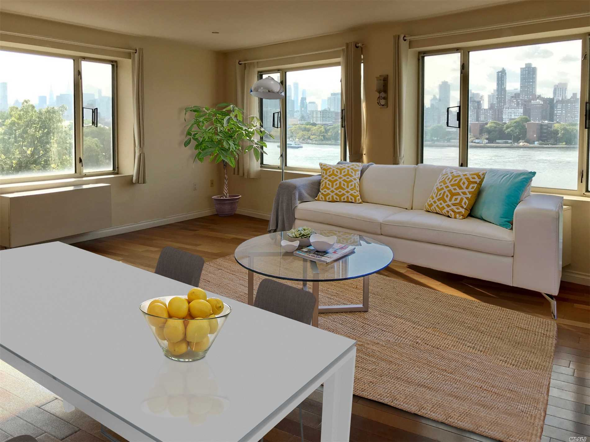 2 Spacious Bedrooms, 1 Full Bath, 1 Half Bath, Large, Corner Unit, Waterfront, Open Kitchen Living Rm With Manhattan Skyline Views, Washer/Dryer In Unit. Tax Abatement Until 2031 - Fitness Room- Pet Friendly - Roof Deck - 24 Hr. Doorman - Elevator Building- Attached Garage Parking - Bike Storage Room - Additional Storage Room In Basement - Steps From Astoria/Nyc Ferry Dock - Buses Direct To Manhattan At Corner Or Short Ride Direct To N/W Or F Train.