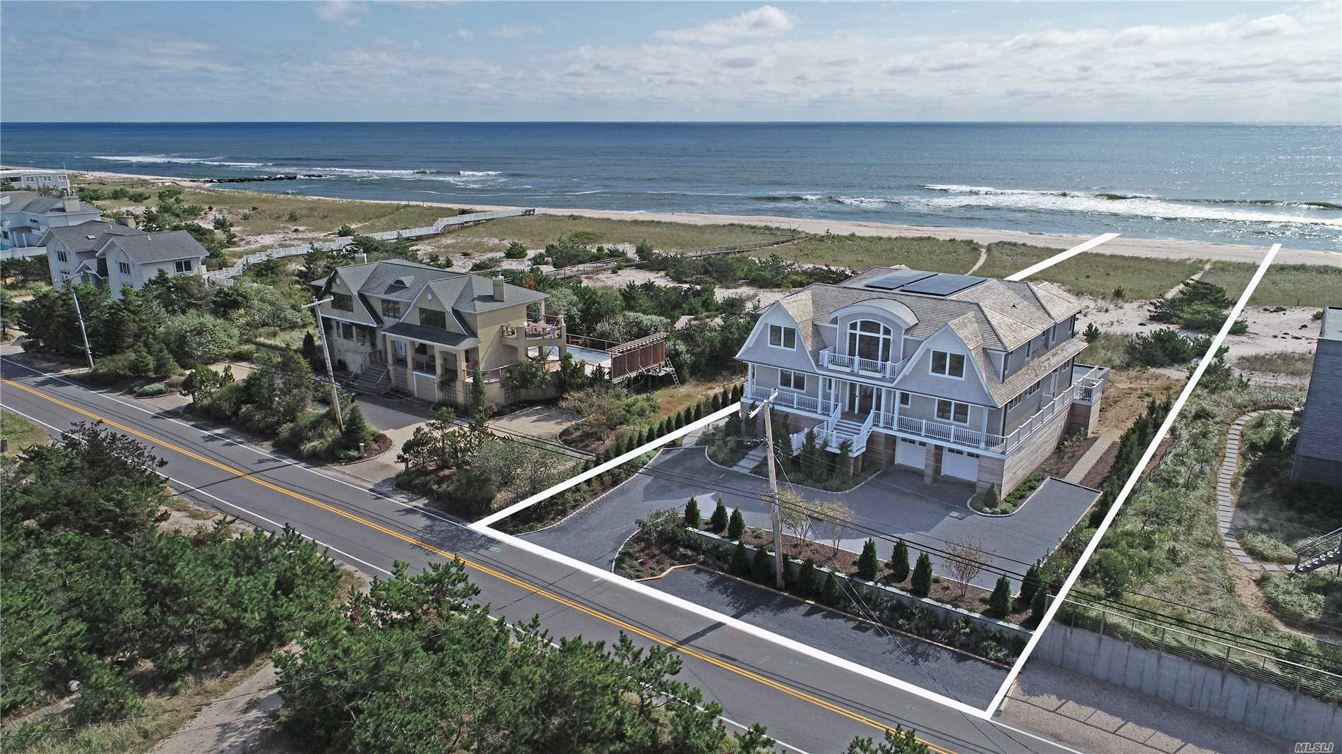 Post Modern Oceanfront 5000 Square Feet, 100 Ft Frontage. 1st Flr Vaulted Foyer W Custom Woodworking, Kit, Living Rm, Dining Rm, ? Bath, & 2 Guest Beds Both W Baths. 2nd Flr W Water Views, 3 Guest Beds 3 Baths, & An Oversized Master W Full Bath & Ocean Side Balcony. Outside You'll Find Manicured Grounds, Multiple Sitting/Deck Areas, & Ocean Side Gunite Pool.