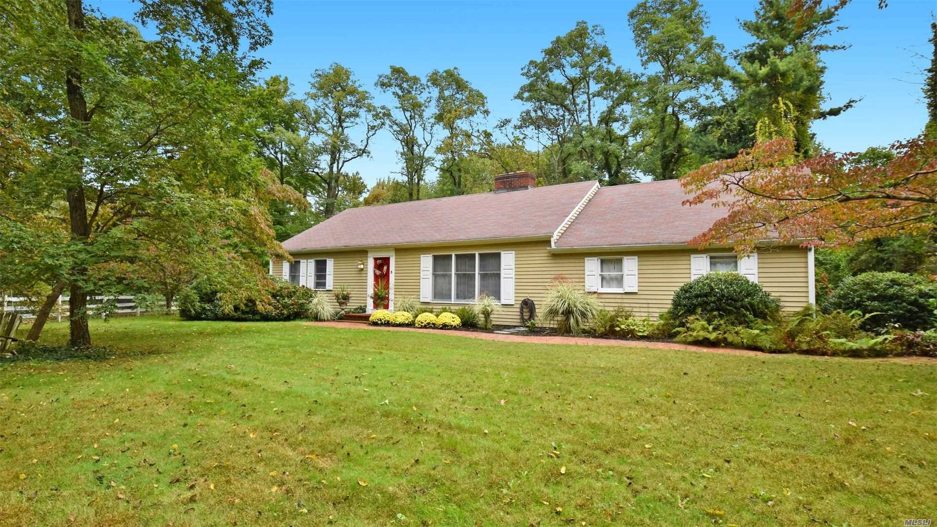 Charming Farm Ranch Set On Parklike Acre With Wonderful Patio For Bbqs. This Home Boasts An Updated Farmhouse Eat In Kitchen, Hardwood Floors, Cac, And 1st Floor Living Incl. W&D In Mudroom Off The Kitchen. Set Close To The Village For Quick Easy Access, Yet In A Country, Treed, Gentrified Section Of Northport.