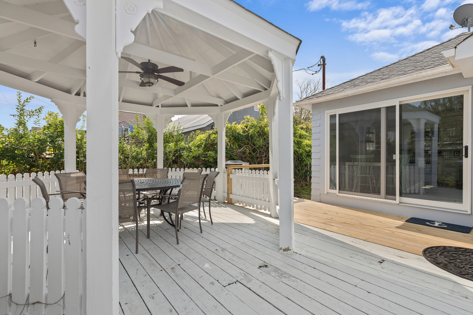 This beautiful home is a great place to spend the summer near Ocean Beach. Gorgeous gazebo off the kitchen. AC. Wagon, BBQ, and 2 beach chairs provided.