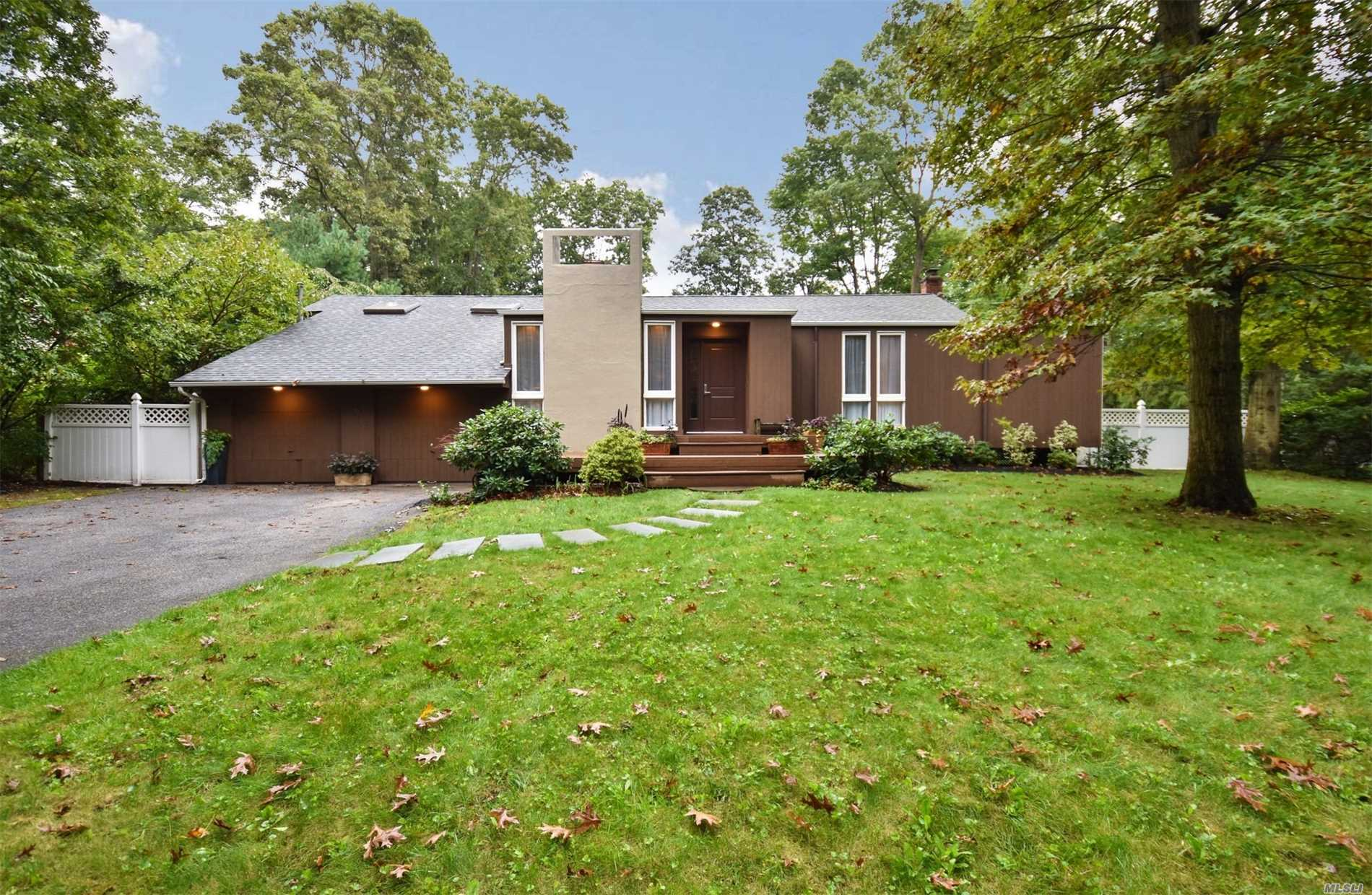 Unique Ranch Redesigned By Renowned Architect, Sun Filled Open Floor Plan With High Ceilings In Principal Rooms, Hardwood Floors, Beautiful Eik With Cherry-Wood Cabinetry And Breakfast Nook, Granite Counter Tops And Stainless Steel Appliances. Updated Baths, New Cac, 6 New Skylights, Gas Heat/Cooking, Gorgeous Flat Half Acre, Low Taxes And Just Minutes To All.