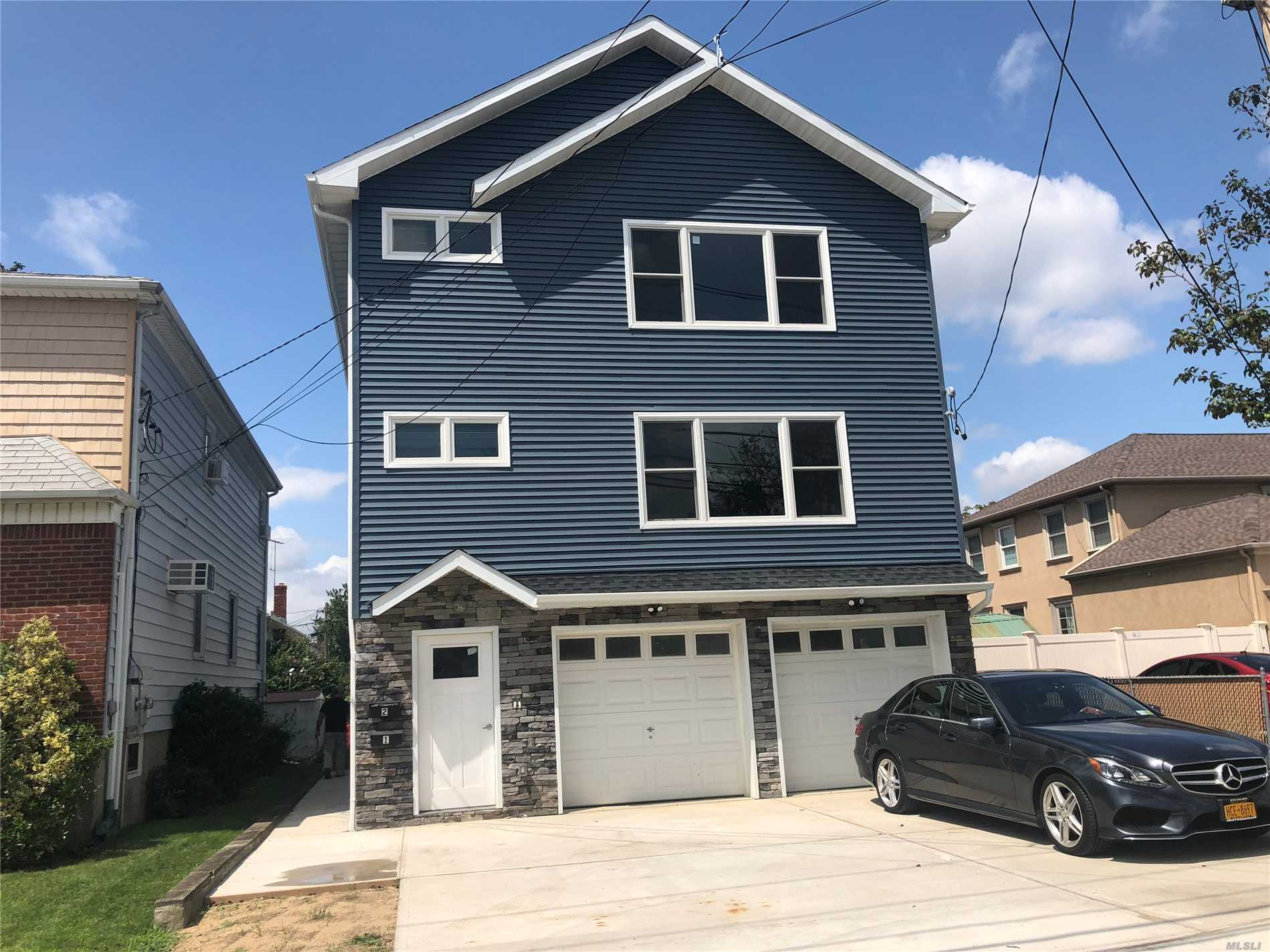 Brand New House!!!! Top Floor Apt In 2 Family Home. Located Close To All.... Shopping, Restaurants And Lirr. Large Master Suite W/Pvt Bath, 2 Additional Bedrooms W/Shared Bath. Wide Open Layout, Eat In Kitchen W/Center Island And New Appliances. Water Views, Private Garage/Driveway. Shared Entryway. Separate Cac, Heat Etc...Upper Apt In A 2 Family Home Brand New!!!!