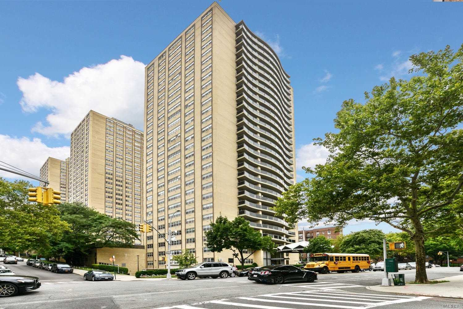 Rare Opportunity To Own Junior 4 Birchwood Towers In Luxury 24Hr. Doorman Bldg. Huge Liv. Rm, Xlg Master Br, Spacious 2nd Br. Ample Closet Space. Huge Communal Terrace & Playground.New Gym. Parking Garage. Just Few Steps To Subway & Express Bus. Steps To All Transport & Shopping & Austin Street. Can Be Sublet Up To 10Yrs After 3Yrs Residence.