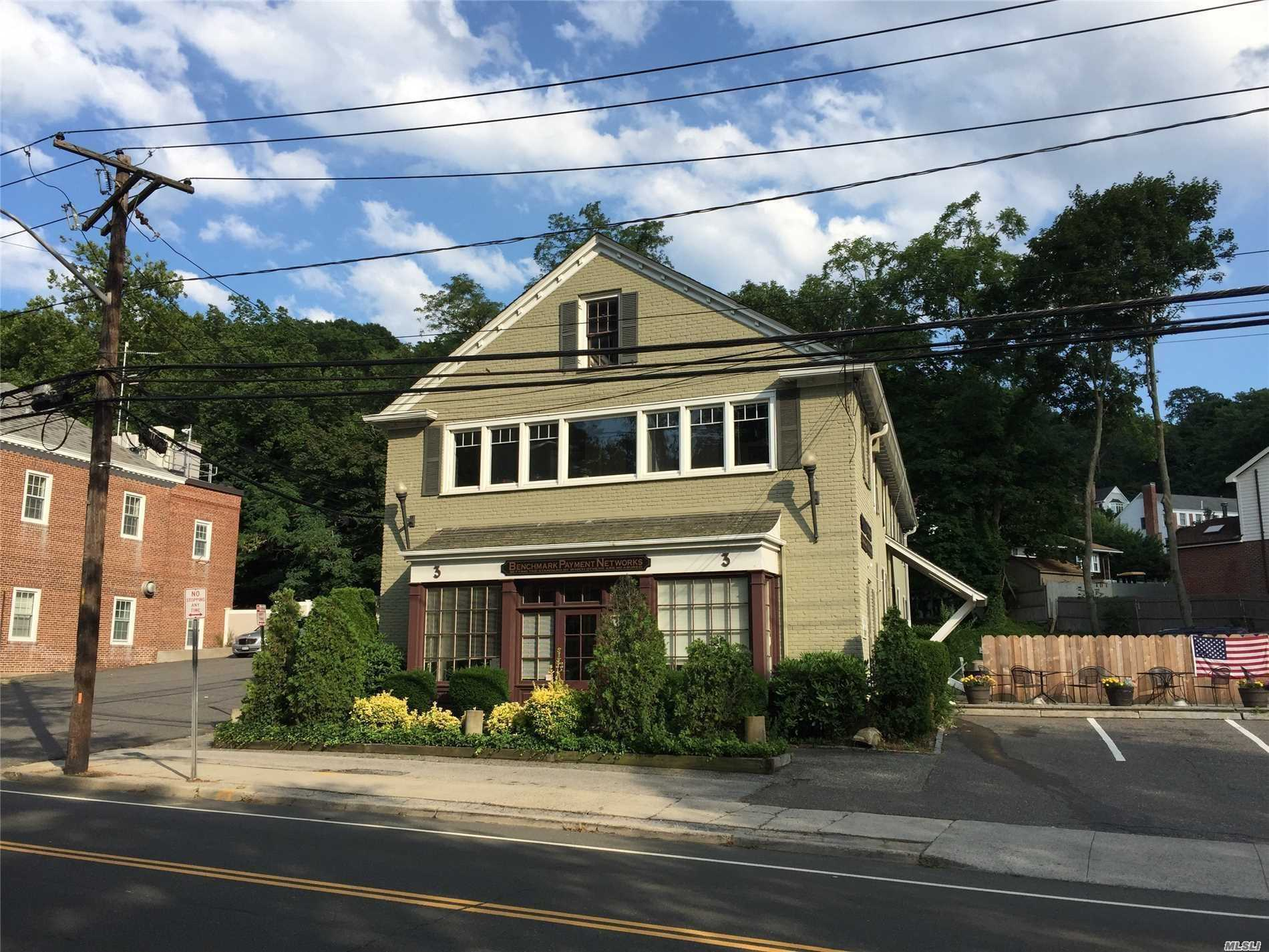 *Prime Location* Office Building With Water Views Of Cold Spring Harbor On Main Street (25A) *Newly Available* Main Floor Office Suite With Double Windows, Built-In Wood Wall Unit, 9 Ft. Ceiling, Private *Utilities Included!* *Great Opportunity For Cold Spring Harbor Office Address.*