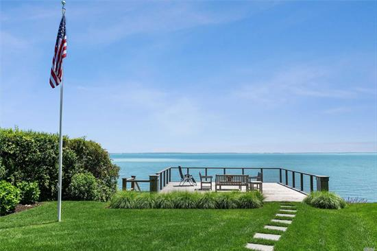 Wake Up Every Morning To Panoramic Views Of The Great Peconic Bay! Feel Like You Are On Top Of The World In This Absolutely Spectacular Home With A Bayfront Cabana, Deck And Balcony. Meticulously Maintained Featuring Master Bedroom Suite, Guest Suite And Lots Of Privacy. Close To Fishing, Sailing, Golf, Horse Farms, Vineyards, Farm Stands and Fine Dinning!