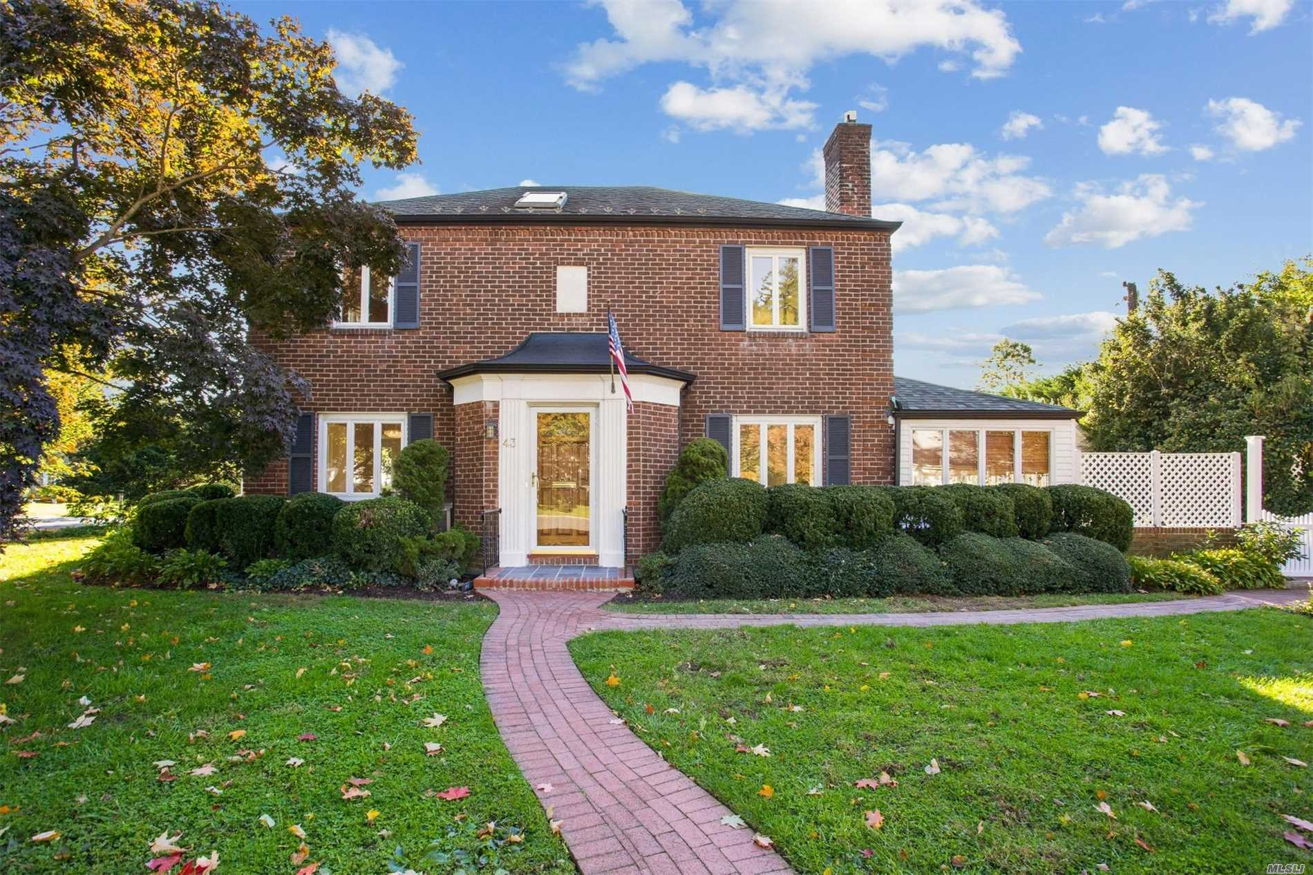 Fully Available - Motivated Seller & Move-In Ready Mott Built 1938 All Brick Colonial In The Heart Of The Mott Section. Great Curb Appeal And Sun-Drenched Interior With 7 Skylights. Inviting Kitchen/Great Room With Many Upgrades Including All New Kitchen Appliances With Freshly Finished Cabinetry And Corian Countertops. Access To A Beautiful & Private Brick Courtyard Is Thru Sliders From Family Room And Office/Sunroom. 3 Bedrooms, 2 Baths On 2nd Fl Including Ensuite Master.