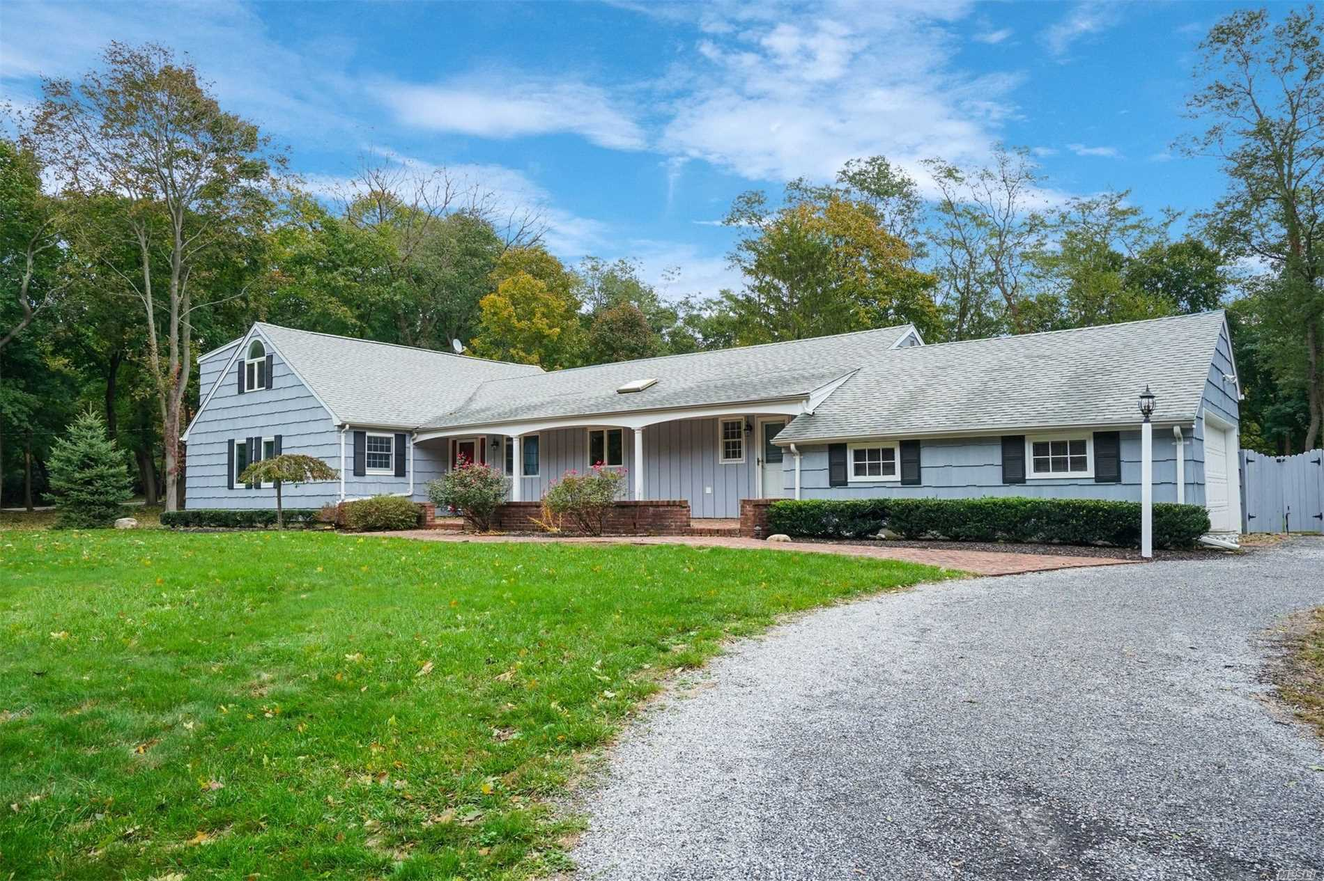 Desirably Located Farm Ranch W/ Front Porch On Usable 2 Acre Property In The Prestigious Cold Spring Harbor School District. Enjoy Open Concept Living W/ Hardwood Flrs, Adjoining Eat-In Kitchen, Dining Area & Family Room W/ Wood Burning Fireplace & French Doors To Deck. Large Picturesque Windows Allow Sun Filled Rooms. Convenience Of Either A 1st Or 2nd Fl Master Suite & 1st Fl Laundry. Situated Only A Half Mile To Lloyd Harbor Village Beach W/ Mooring Rights, Tennis Court, & Summer Camp (Fee).