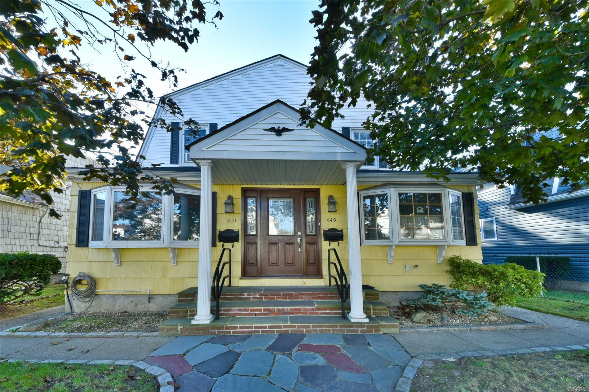New To Market!!! Charming 2 Family In The Heart Of Cedarhurst, Large Private Yard, Recently Updated Kitchen, Close To All!!!
