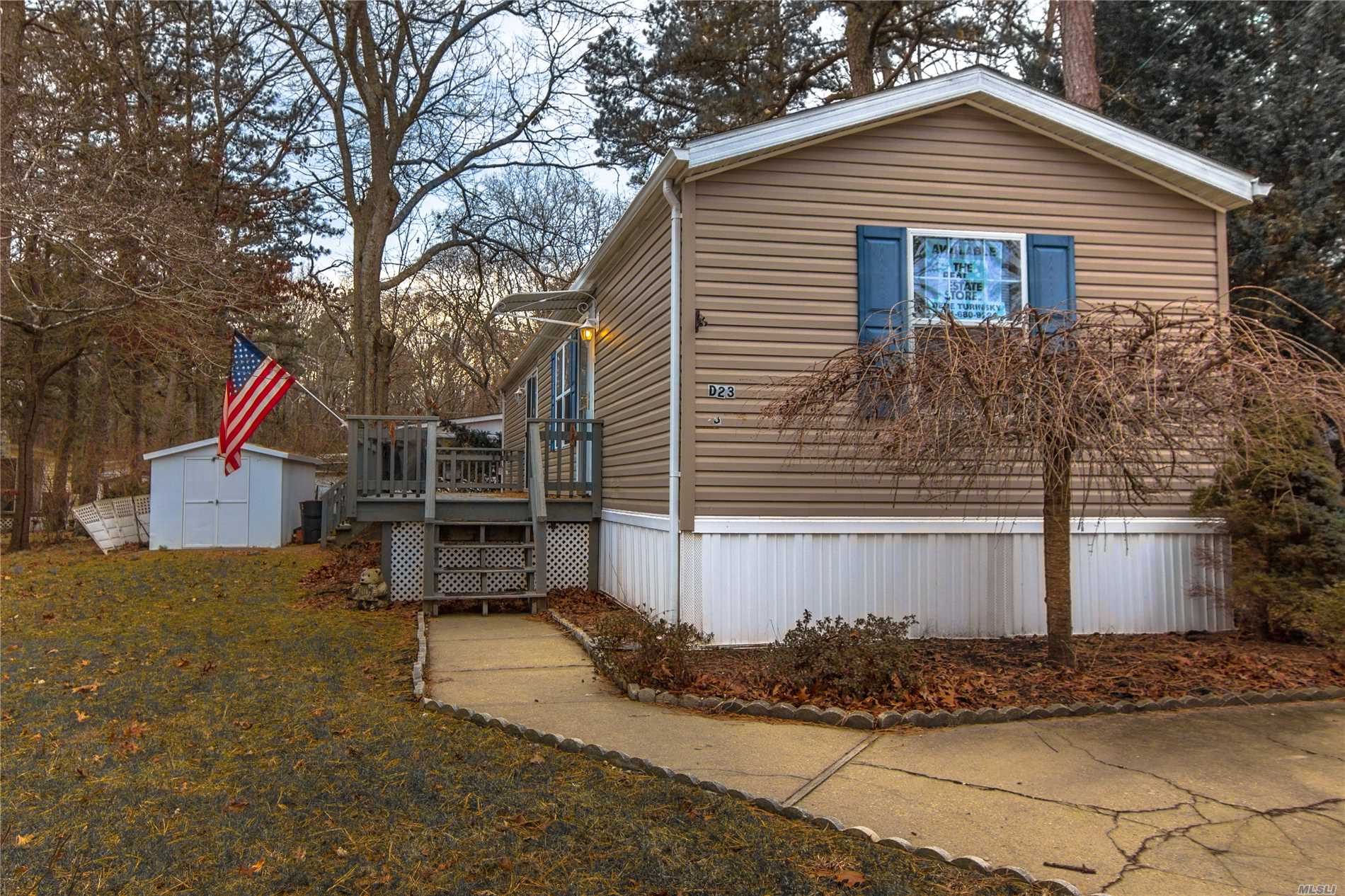 55 And Older Community. Cash Only. 2004 Skyline .Eat In Kitchen, Living Room, Two Bedrooms One And A Half Baths. New Flooring.Big Deck. Large Shed. New Insulation Underneath Unit.Land Rent Is 738 Per Month Includes Water, Trash, Snow Removal, Cesspool Maintenance. Use Of The Clubhouse, Southampton Town Beach Rights. No Dogs Over 45 Pounds.