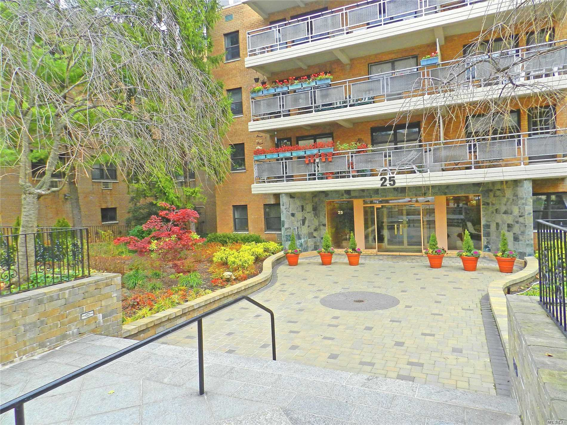Welcome To This Fabulous Sunny Two Bedroom, Two Bath Co-Op Apartment In The Heart Of Great Neck, Large Living Room With An L Shaped Dining Area. A Large Terrace Overlooks Grace Ave Park. This Unit Comes With A Parking Space. Near Long Island Railroad,  Town, Park, Stores And Parkwood Pool And Tennis.