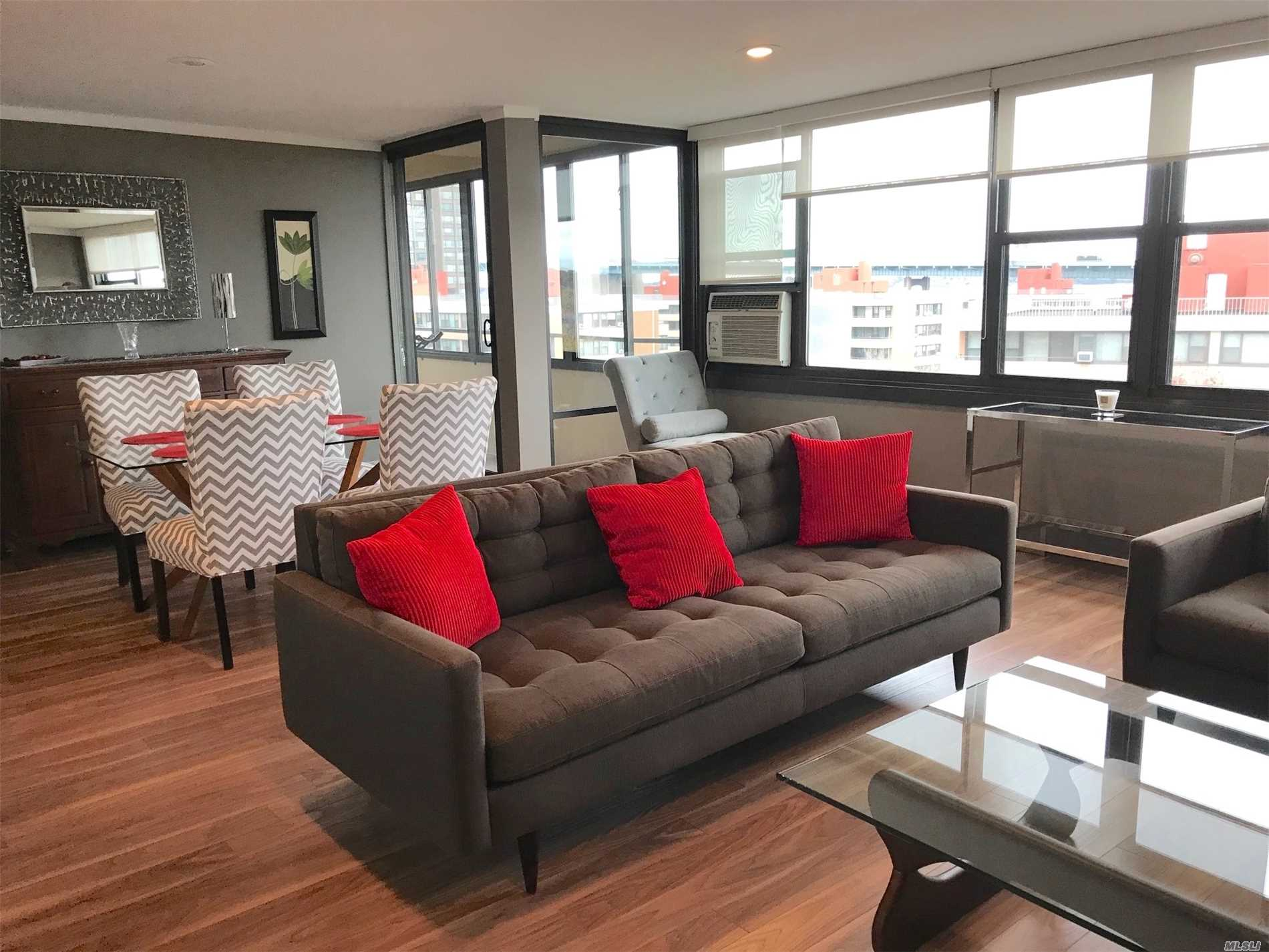 Penthouse With Panoramic Bridge And Waterviews. Pristine And Ready To Move Right Into This Gem... Brand New Open Concept Kitchen With Granite And Stainless Steal Appliances. New Euro Bath. Flat Ceilings With Recessed Lighting. New Closet Doors. Engineered Wood Floors. Enclosed Terrace. Prime Parking Space Available For Transfer 8, 500