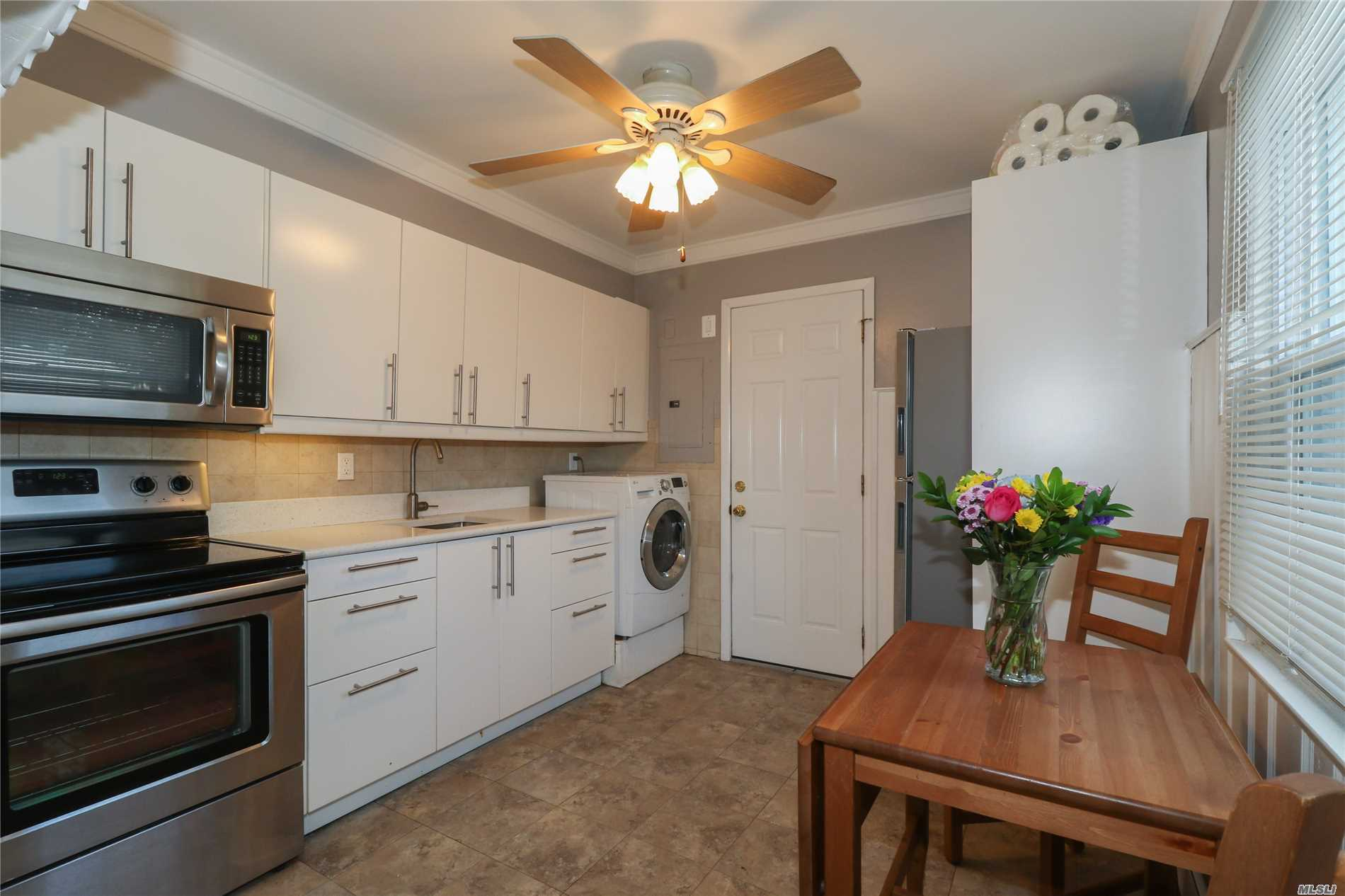 Mint Levitt Corner Cape W/ Updated Eat-In-Kitchen W/ Washer/Dryer Combo, Living Rm, Dining Rm, Master Bdrm, Updated Full Bath, & New Boiler All On 1st Floor. 2nd Floor Offers 2 Bdrms W/ Nice Size Closets. Newly Painted, New Laminate Wood Flrs Throughout, New Roof & Siding, Access To Yard, Det Garage, & Pvt Driveway. (1st & Last Month Rent, 1 Month Broker Fee, Security: $1000 Due At Lease Signing By Tenant) All Prospective Tenants Must Be Screened By The National Tenant Network Link.