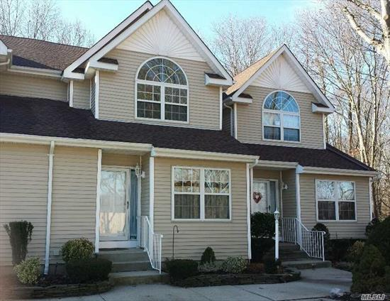 East Islip, Low Common Charges $237. Entry Foyer, 1/2 Bath, Eat In Kitchen, Dinning Room/Living Room With Gas Fireplace, D, Washer/Dryer, Rear Deck, 2nd Floor 2 Bed Rooms, Full Bath Jack And Jill, Master With Full Walk In Closets, Basement Finished, (Bath not on C/O), Rear Deck, Parking In Front Of Unit. .