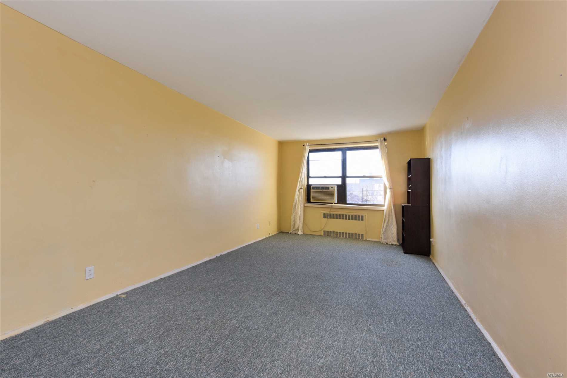 Large Two Bedroom Coop Corner Unit With South- West Exposure, Updated Kitchen With Dual Side Cabinet And Countertop, Tank Style Toilet Bathroom , Lot Of Closets For Storage, Extra Large Master Bedroom With Windows Facing South, , Low Maintenance Include All Utilities. Outdoor Parking Is Available Immediately. Cross Street From Supermarket Shopping Center, Multi-Line Bus Directly To Main St. Flushing And Nyc .Easy Street Parking , Gym, Laundry