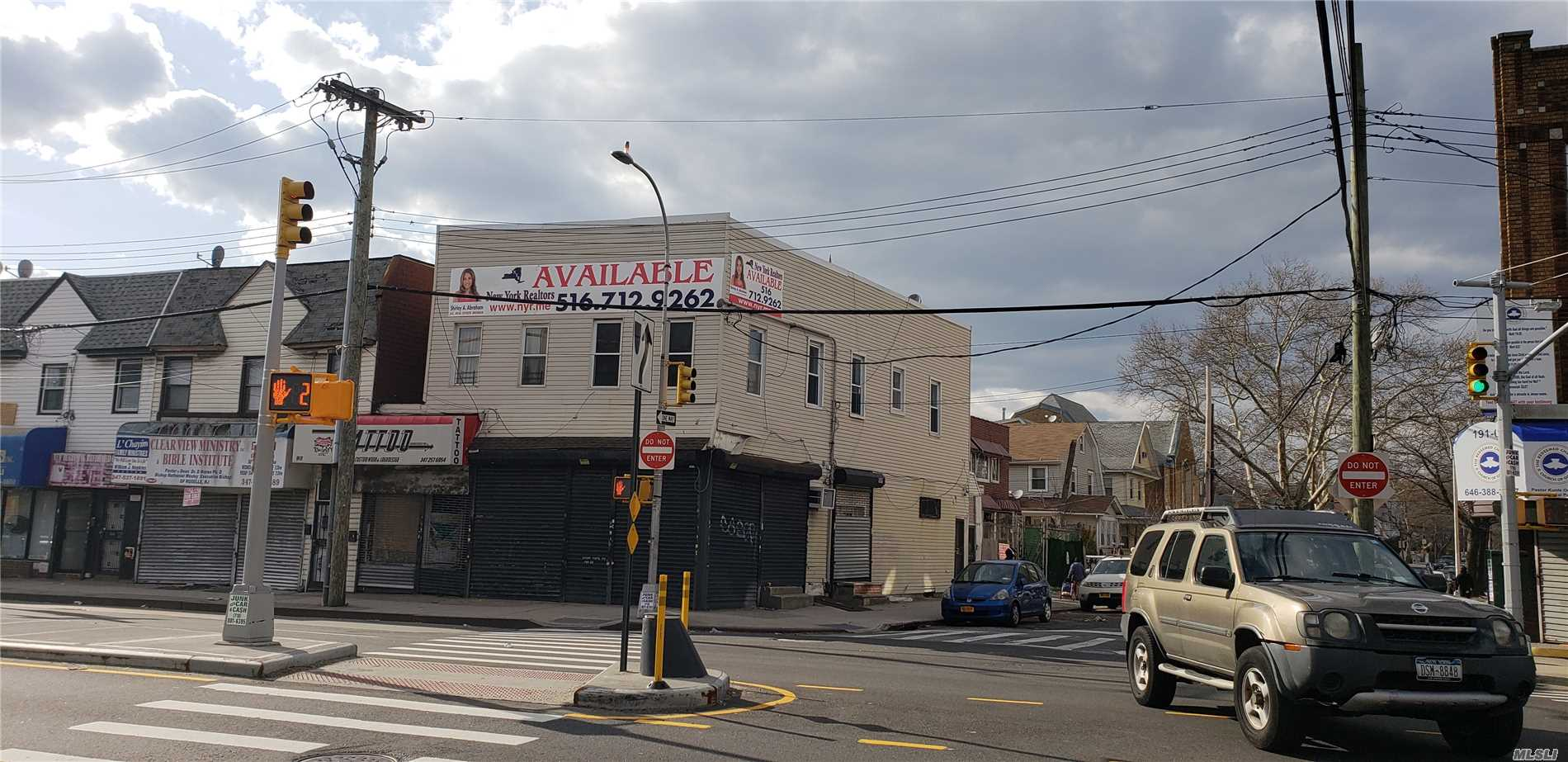 Very Rare Find In Queens Perfect Corner Location For A Bank Or Large Food Franchise, Dunkin Donuts, Dollar Store, Popeyes, Kentucky Fried Chicken, 7-11, 12 Car Parking In Back For Additional Cost At $200.00 Per Spot. First Year Rent $4000.00 Per Month Second Year Rent $4500.00 Third Year Rent $5000.00 And There After A 5% Increase Per Annum. If Tenant Requires More Space There Is An Additional 1700 Square Feet That Can Be Added To This Space For An Additional Cost, Can Be Negotiated