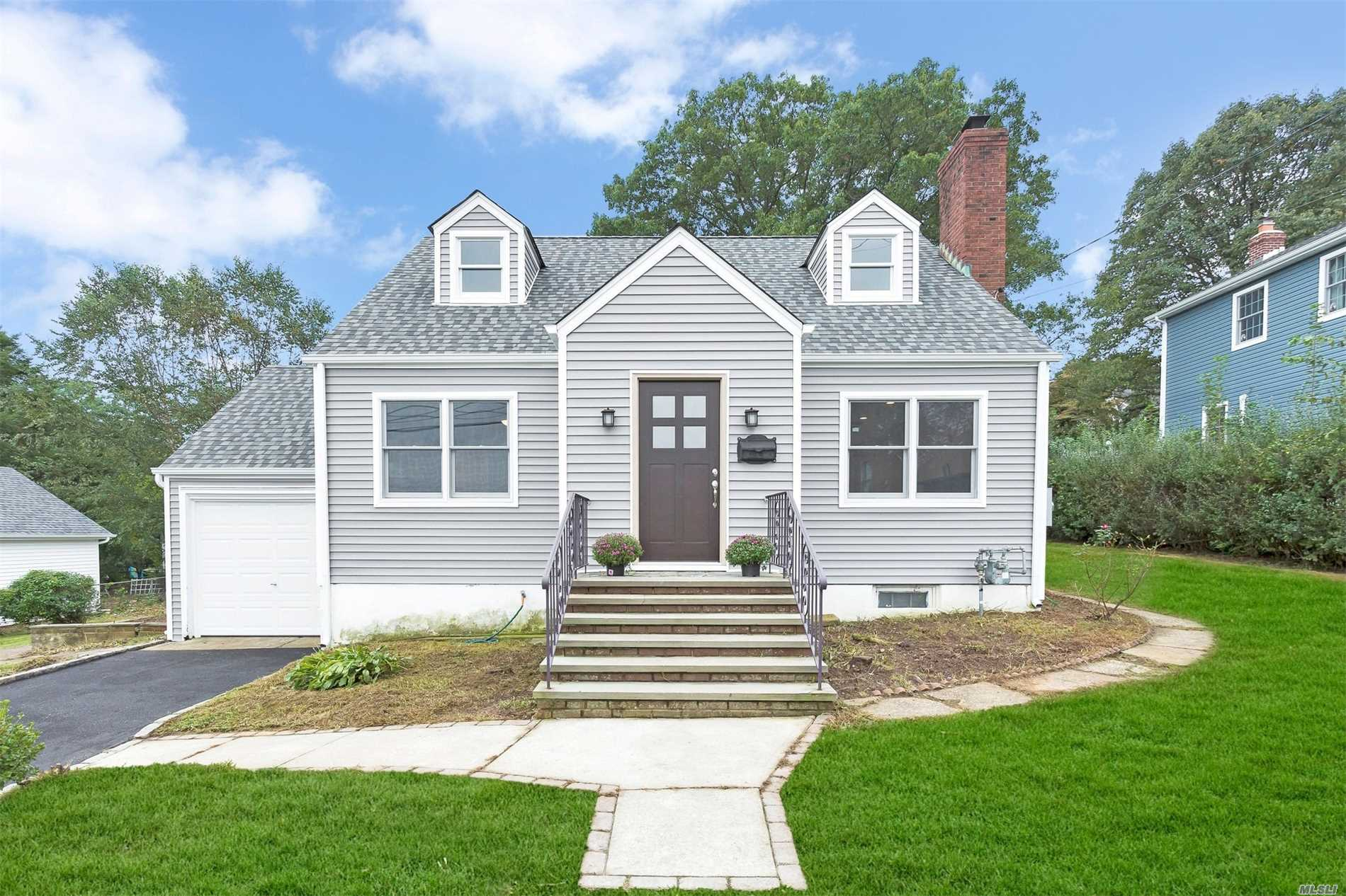 This Stunning Expanded Cape Has Been Totally & Beautifully Renovated Inside And Out With An Open Floor Plan, Master Bedroom Could Be On First Or 2nd Floor. New Baths And New Kitchen With Quartz Counter, Mudroom/Office, Radiant Heat On Entire First Floor And 2nd Floor Bathroom. This Gem Has New Siding/Roof/Driveway And Boasts A Quiet Mid-Block Location, Convenient To All! Near Train, School, Grocery And Shops! Part Of Award-Winning North Shore School District.