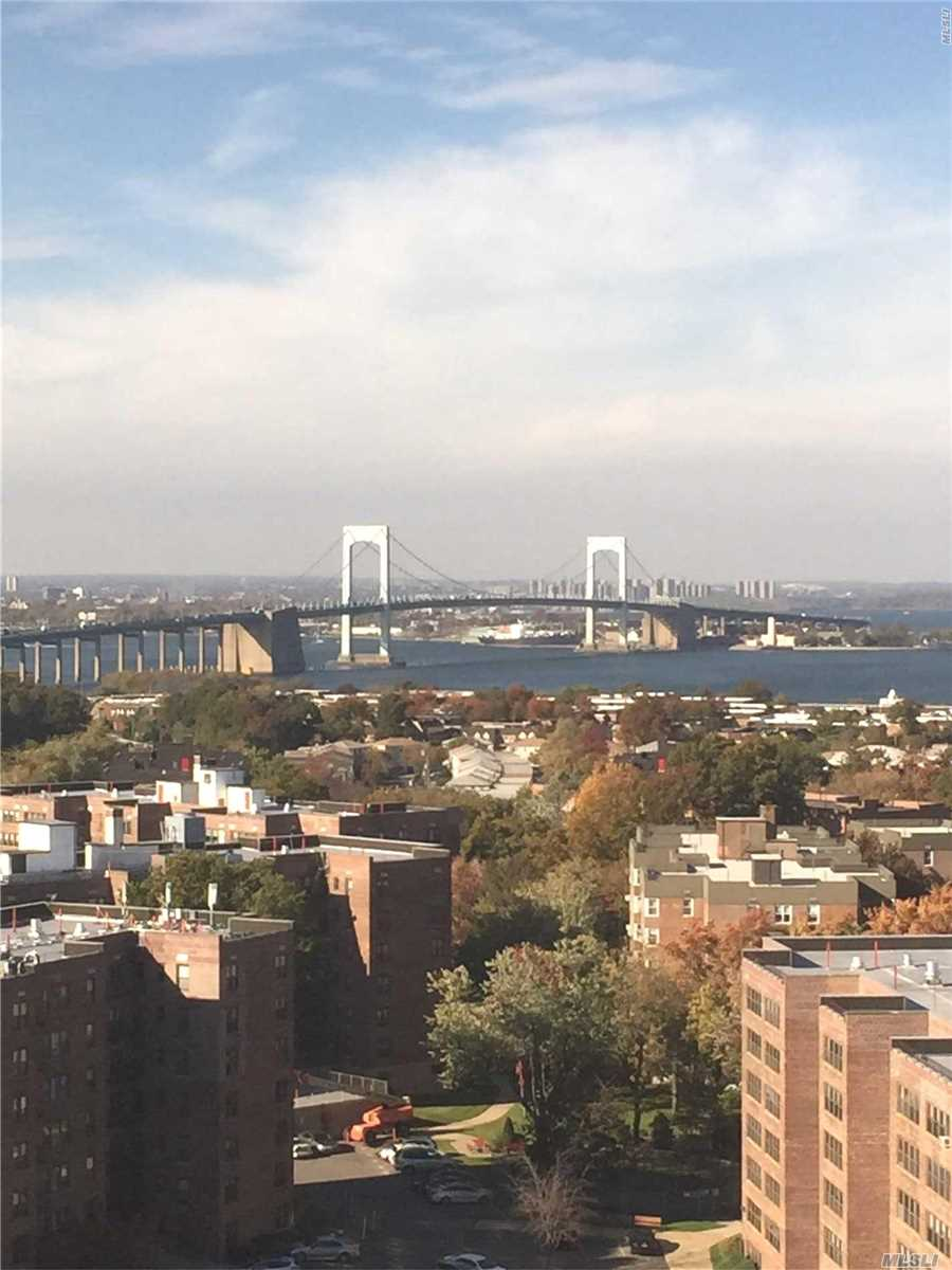 Large And Bright, Corner One Bedroom Apartment On A High Floor With A Spectacular View Of Bridge, Water And Sunset. Newly Renovated. Freshly Painted. Beautiful Show. Bay Club Is A Gated Full Service Deluxe Condominium Featuring Year Round In-Ground Pool, Modern Gym, Tennis, Library And Playroom.  Walk To Bay Terrace Shopping Center. Express Bus To Manhattan.