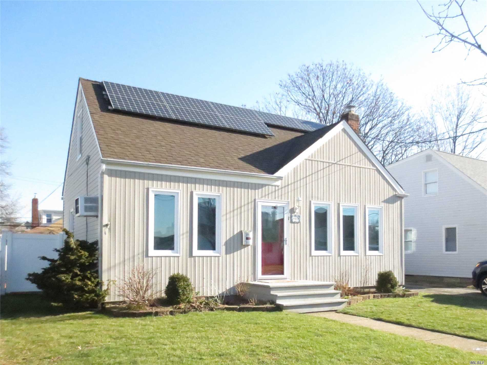 Beautiful Cape Located Mid-Block In South Merrick. Updated Throughout: Tank-Less Water Heater, Gas Heat, Windows, Roof, Eat-In-Kitchen, Bathroom And Electric; Sliding Doors To Cedar Deck For Entertaining With Gas Line To Barbque; Fenced Property; Solar Panels (Owned) Close To Shops, Houses Of Worship, Parkways; Just Unpack And Move In! Owner Pays $604 Yearly For Flood Insurance; Low Taxes $7201, 80 With Star!! Lakeside Elementary, Kennedy High School.