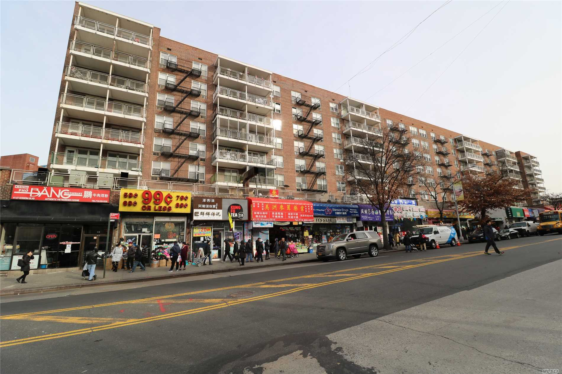 In The Center Of Flushing With Supermarkets, Multiple Restaurants, Library, Lirr, Macy's & The #7 Train All Within 1 Block Radius. Maintenance Includes Everything Except Electricity & Internet. Fios And Spectrum Ready Building. Parking Space Available To Rent On A Month To Month Basis 24 Hour Doorman. The Sale May Be To Subject To Term & Condition Of An Offering Plan.