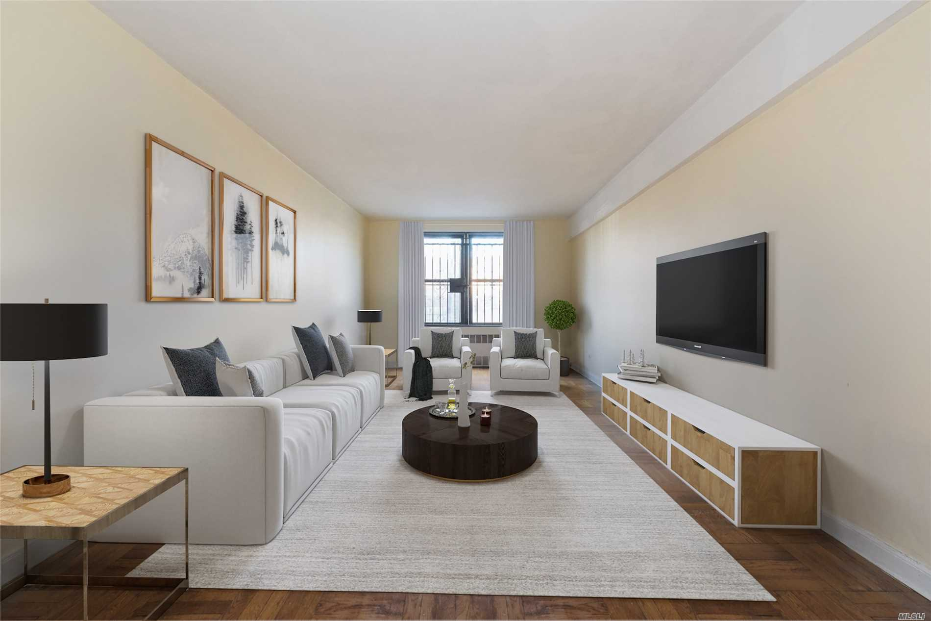 This Spacious 2 Bedroom, Large Living Room, 1.5 Bath Coop Apt, With Generous Closet Space, Faces South Providing Beautiful Natural Sunlight All Day And Views Of Tall London Plane Trees. Secure 1st Flr Location Provides View Of Coop's Playground To Facilitate Supervision Of Children And Provides Ease Of Access To Laundry Room. Apt Is Peaceful And Quiet. Southridge Coop Section 4 Grounds Are In A Well Maintained Garden Setting And Is Conveniently Located Near Shopping And Public Transportation.