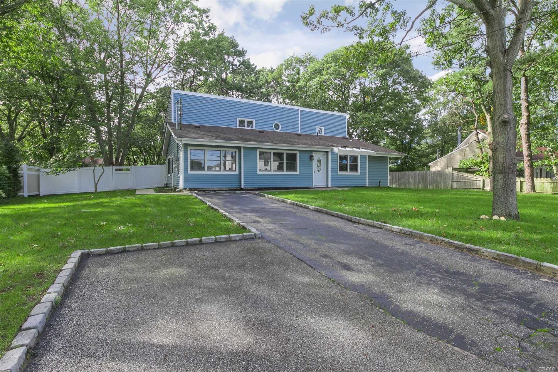 Totally Updated, Unique House:Brand New Kitchen W/Granite & Ss Appliances, All New Ceramic & Wood Floors, 3 Full Baths, Newer Roof, Siding, Windows & Doors, Large Cleared Property, New Grass, Inground Sprinklers & Spacious Deck & Patio For Entertaining. Open Floor Plan, Ground Floor Master Bedroom, Minutes To Sachem Schools, Highways & Lirr. Unique Location W/Public Sewers. Its Worth A Viewing, Don't Windshield & Miss Out, A Much Larger House. This Interior Is A Must See !!