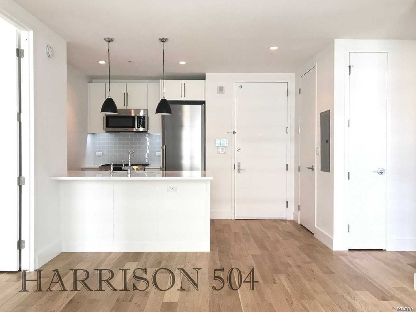 Welcome To The Harrison Residence 504. Gorgeous, Upscale, 2Bed/1Bath Residence, 800 Square Feet, Available March 1, 2019. Open Concept Kitchen With Bosch Appliances, Quartz Counter, Contemp Lighting, White Shaker Cabinets, Subway Tile. Lots Of Space For Cooking, Entertaining Or Relaxing. Spacious Lr, 2 Full-Size Bedrooms, Bosch W/D In Unit. 1 Contemp Bath. 27th Floor Roof Terr With Bbq And Hudson R View. Party Room, Gym, Children's Room.