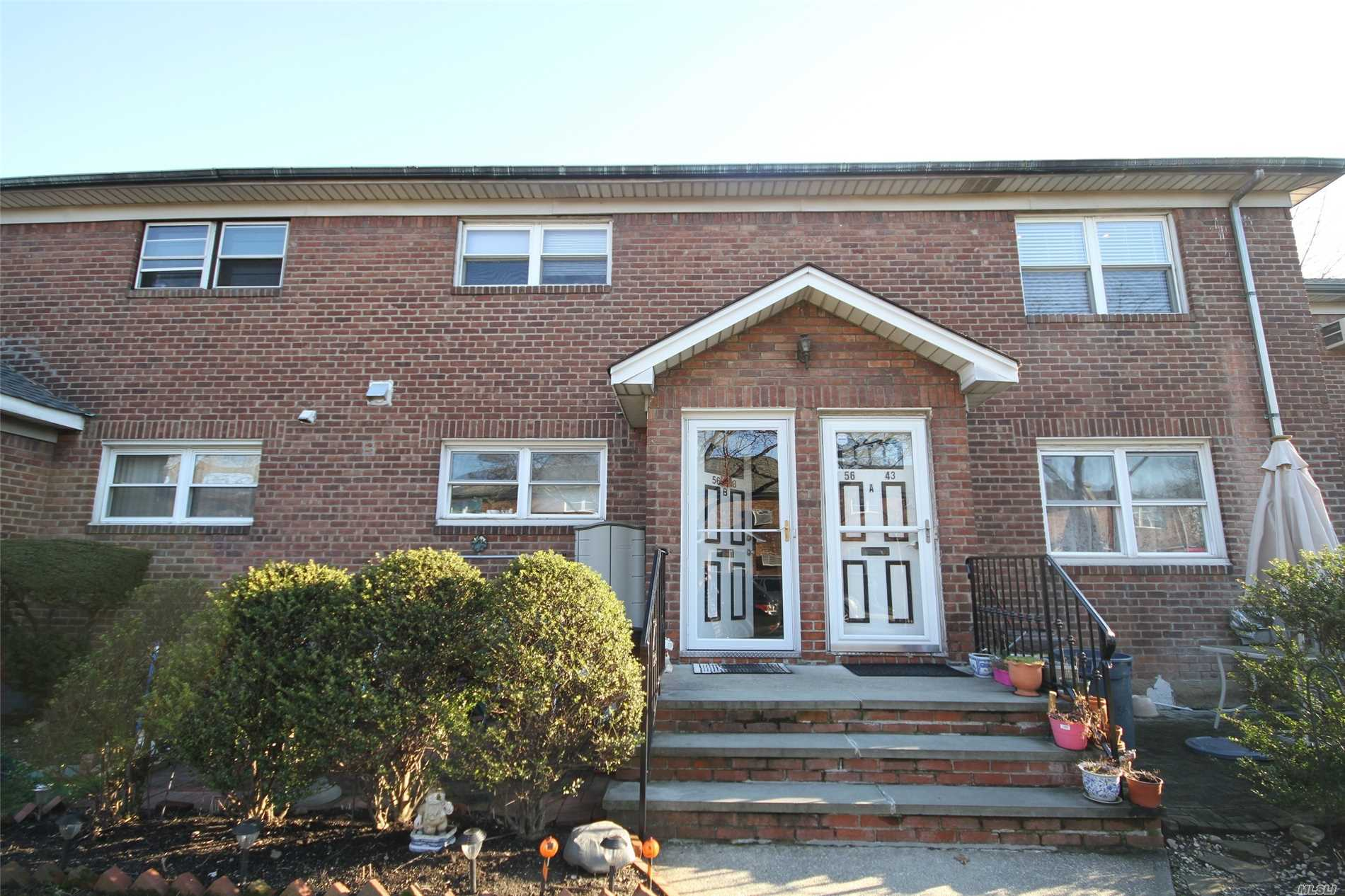 Turnpike Gardens, Upper Level B Unit Featuring A Large, Renovated, Eat-In Kitchen, H/W Floors, Central A/C, 2 Bedrooms Plus An Attic For Storage. Located On A Quiet, Tree-Lined Street Close To Q31, Q17, Q88 And Q30 Buses. Zoned For Sd# 26, Ps 173 And Jhs 216.