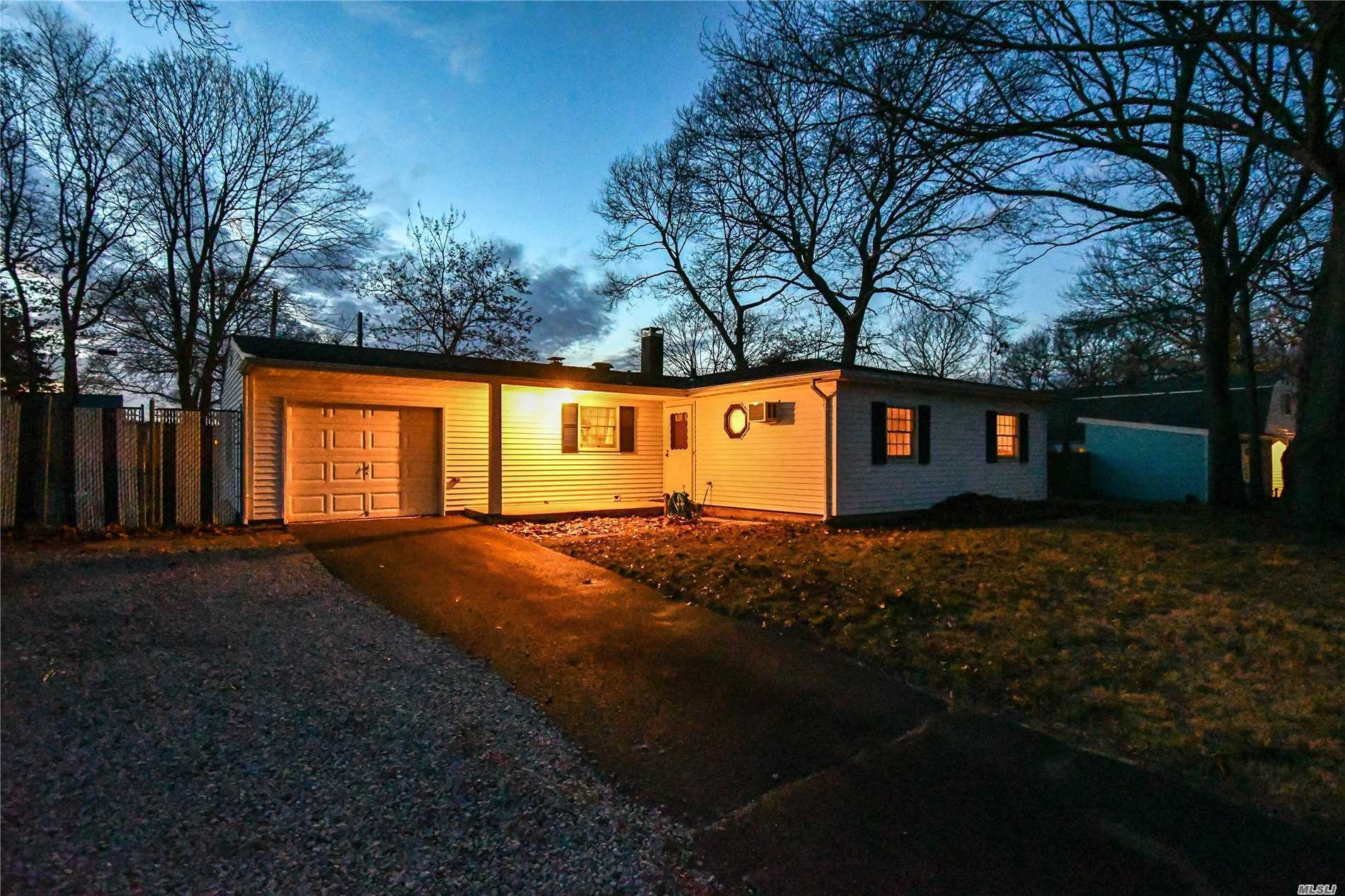 This Large L-Shape Ranch With Fr Extension Is Located In A Development With Sidewalks And Curbs, Large Yard, Updated Roof 2005 Down To Rafters, Burner 5 Yrs Old, Updated Electric. Anderson Window, Fireplace 1 Yr Old,  Newer Kitchen And Baths. Laminate Flooring.  Sidewalks And Curbs. Sachem Schools.