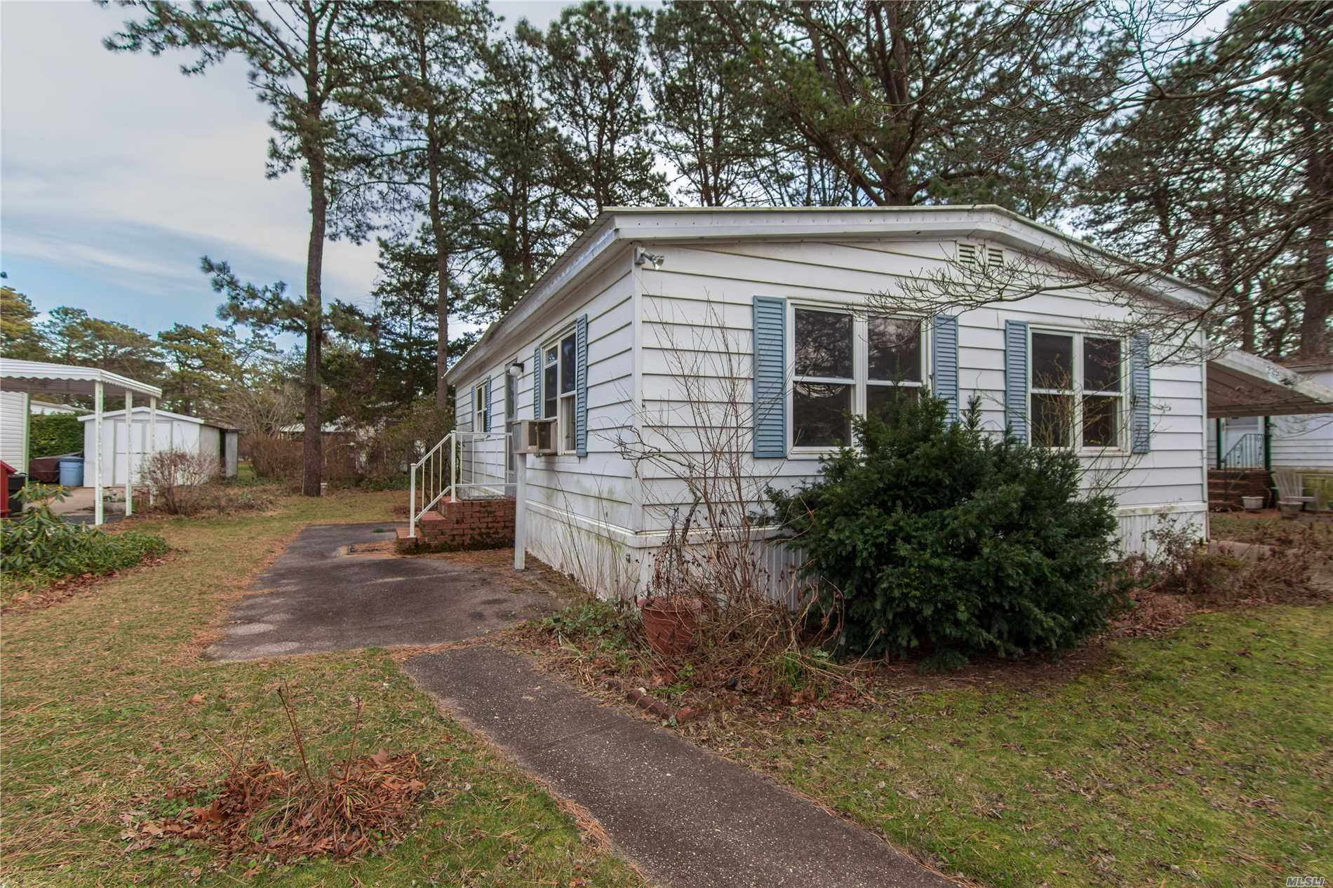 Totally Renovated Double Wide.55 And Over Community.Cash Only.All New Sub-Floors, New Laminate Floors, New Windows.New Kitchen, All New Stainless Steel Appliances. New Titled Full Bath. New Sheet Rock, And Insulation. Two Bedrooms, Full Bath, Formal Dining Room, And Kitchen. Carport, And Shed. Land Rent Is 938 Per Month Which Includes Taxes, Trash And Snow Removal, Water, Cesspool Maintenance, Use Of The Clubhouse And Southampton Town Beach Rights